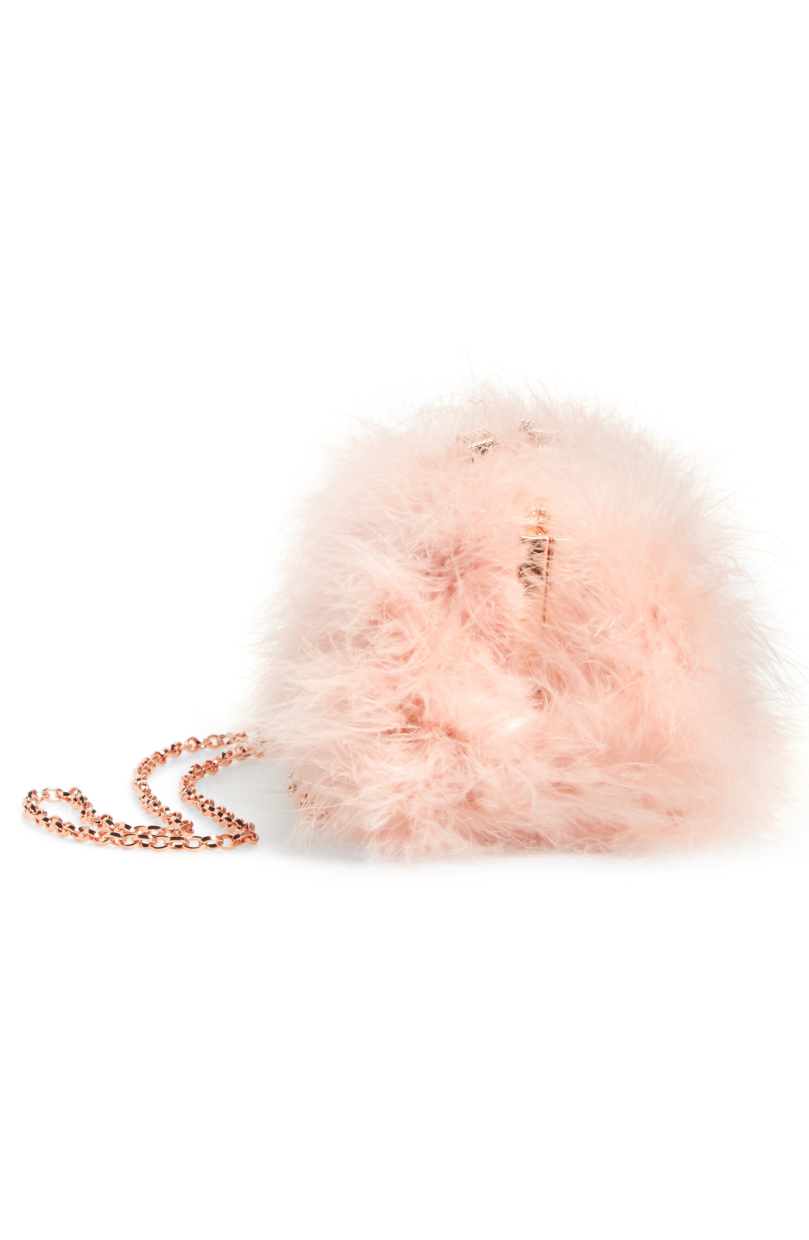 Loop Bow Feather Evening Bag,                             Alternate thumbnail 4, color,                             Light Pink