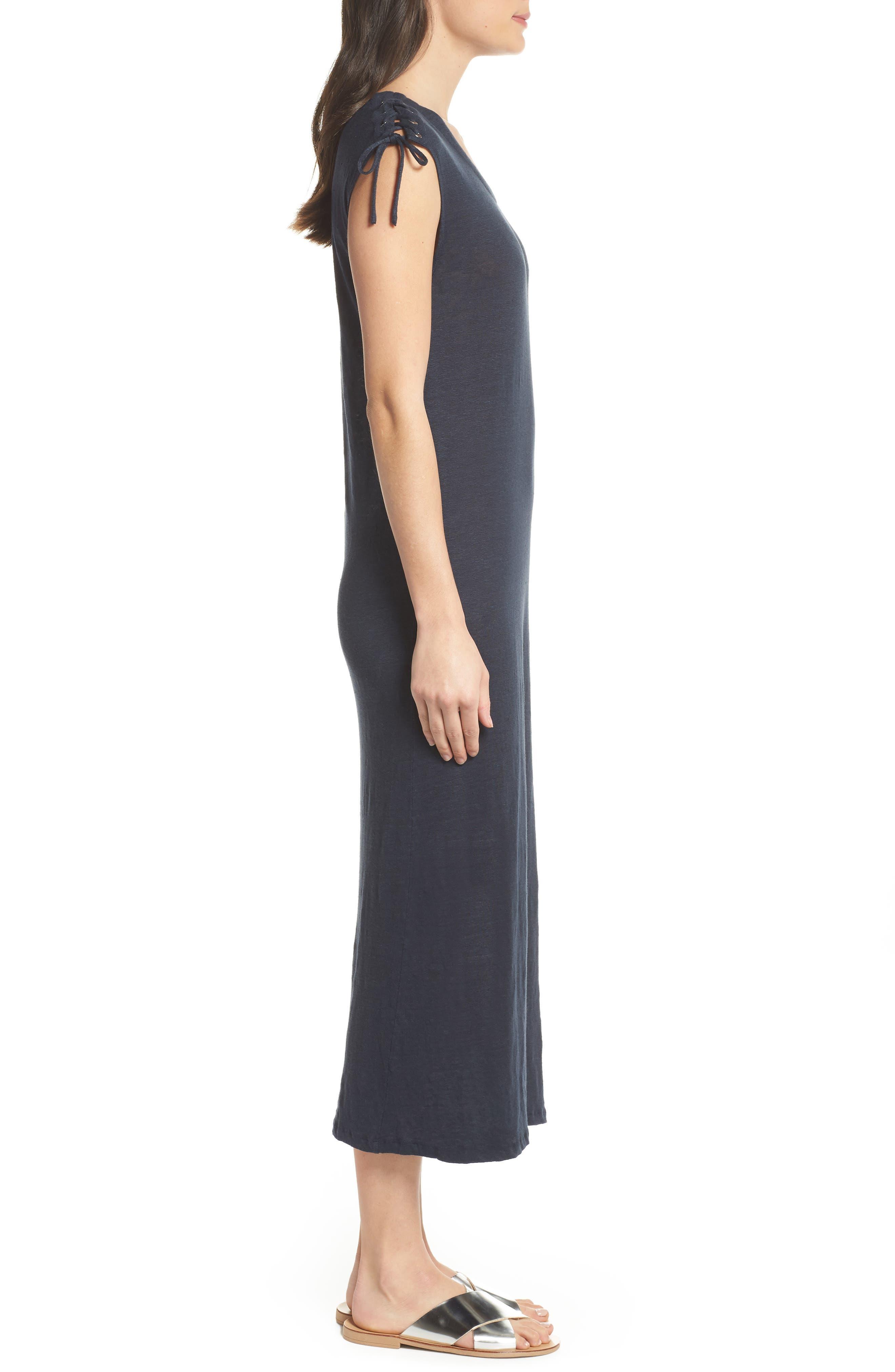 Lace-up Shoulder Jersey Midi Dress,                             Alternate thumbnail 3, color,                             Navy