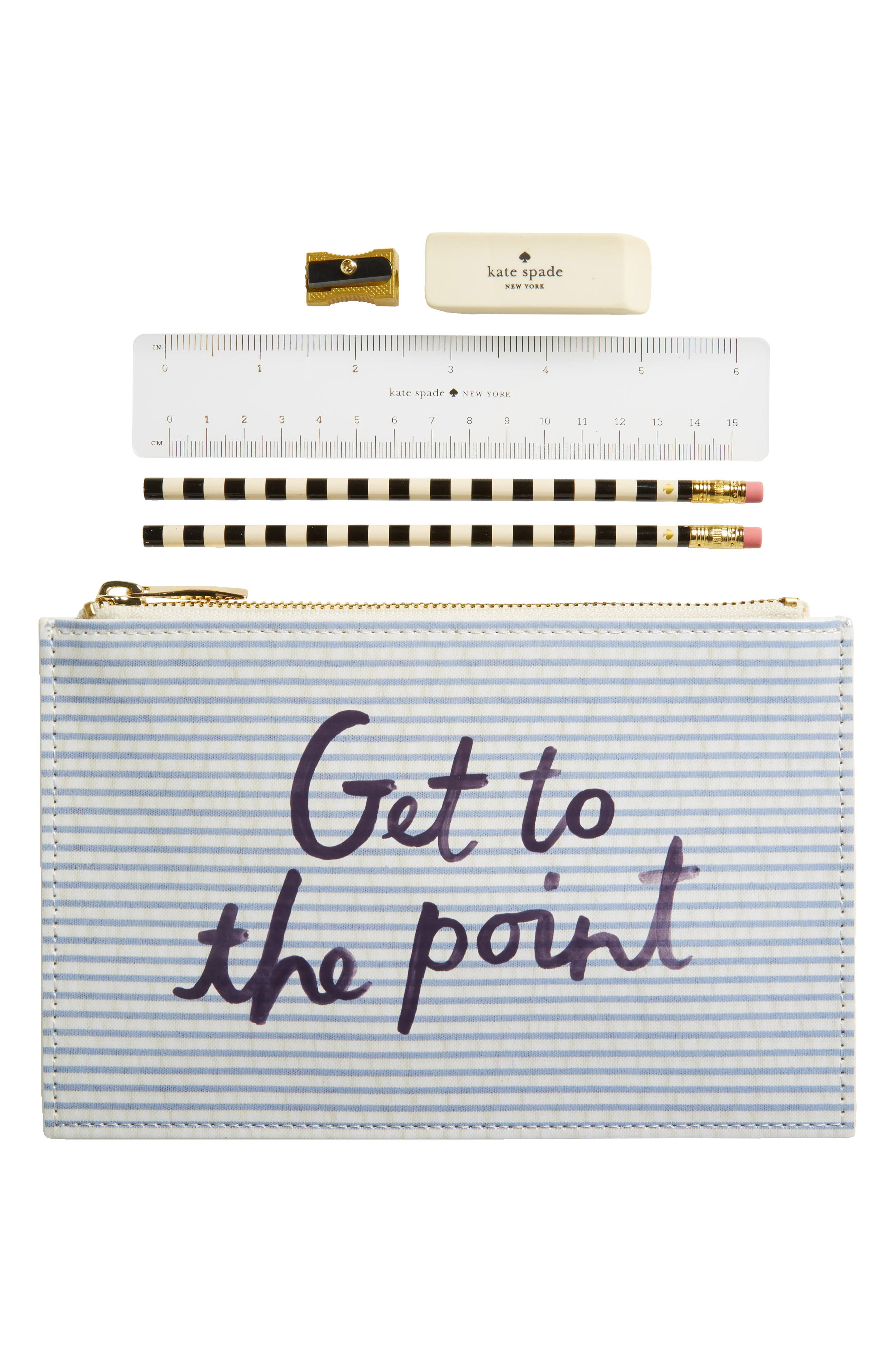 get to the point pencil pouch,                         Main,                         color, Seersucker