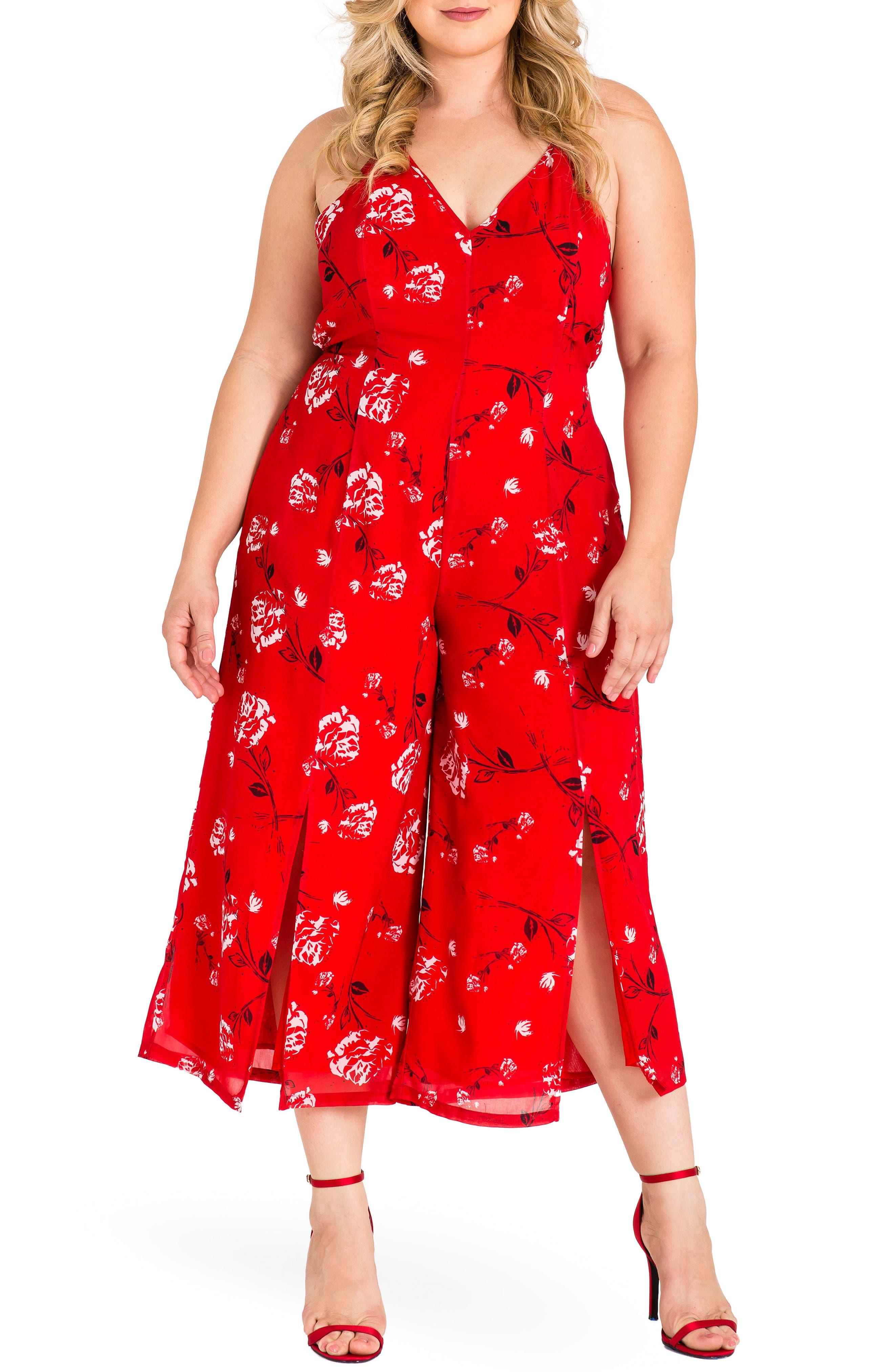 Dianna Halter Jumpsuit,                         Main,                         color, Red Tulip Print