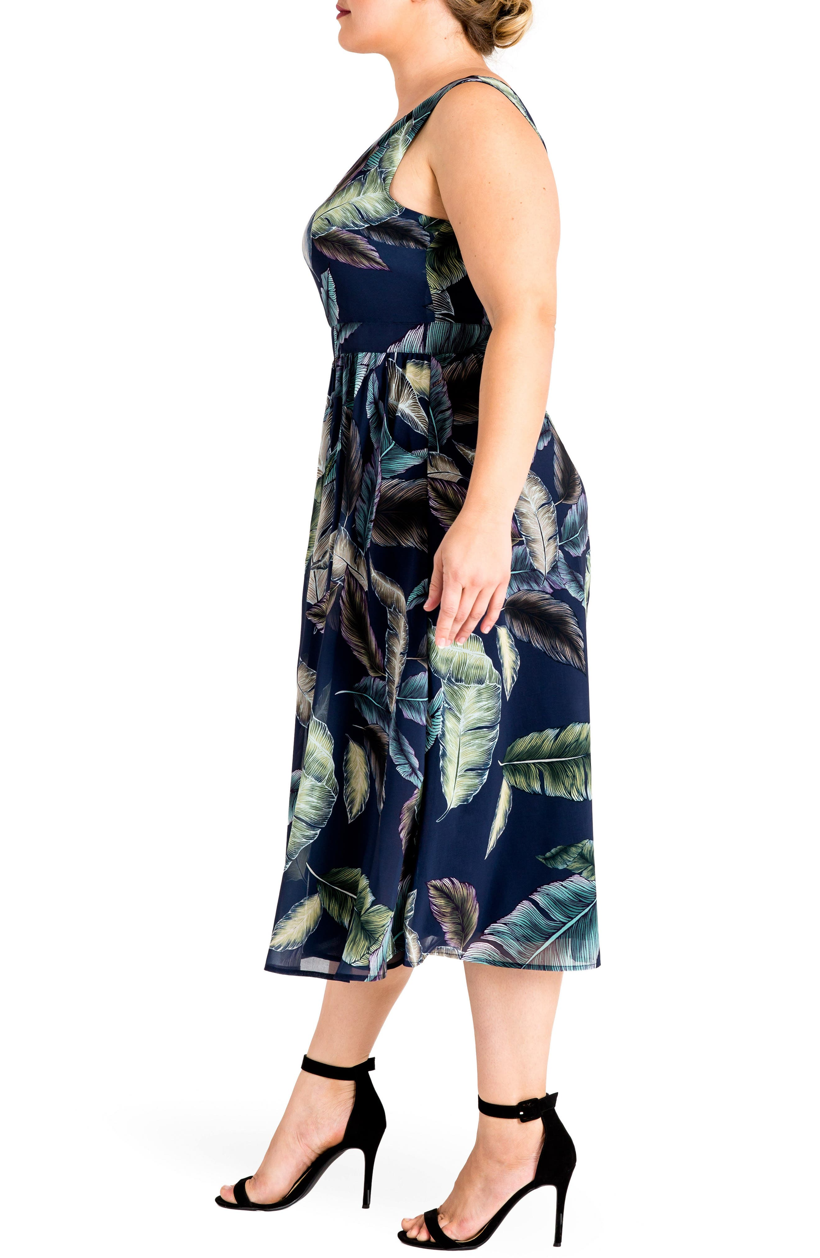 Naya Deep V-Neck Midi Dress,                             Alternate thumbnail 3, color,                             Leaf Print