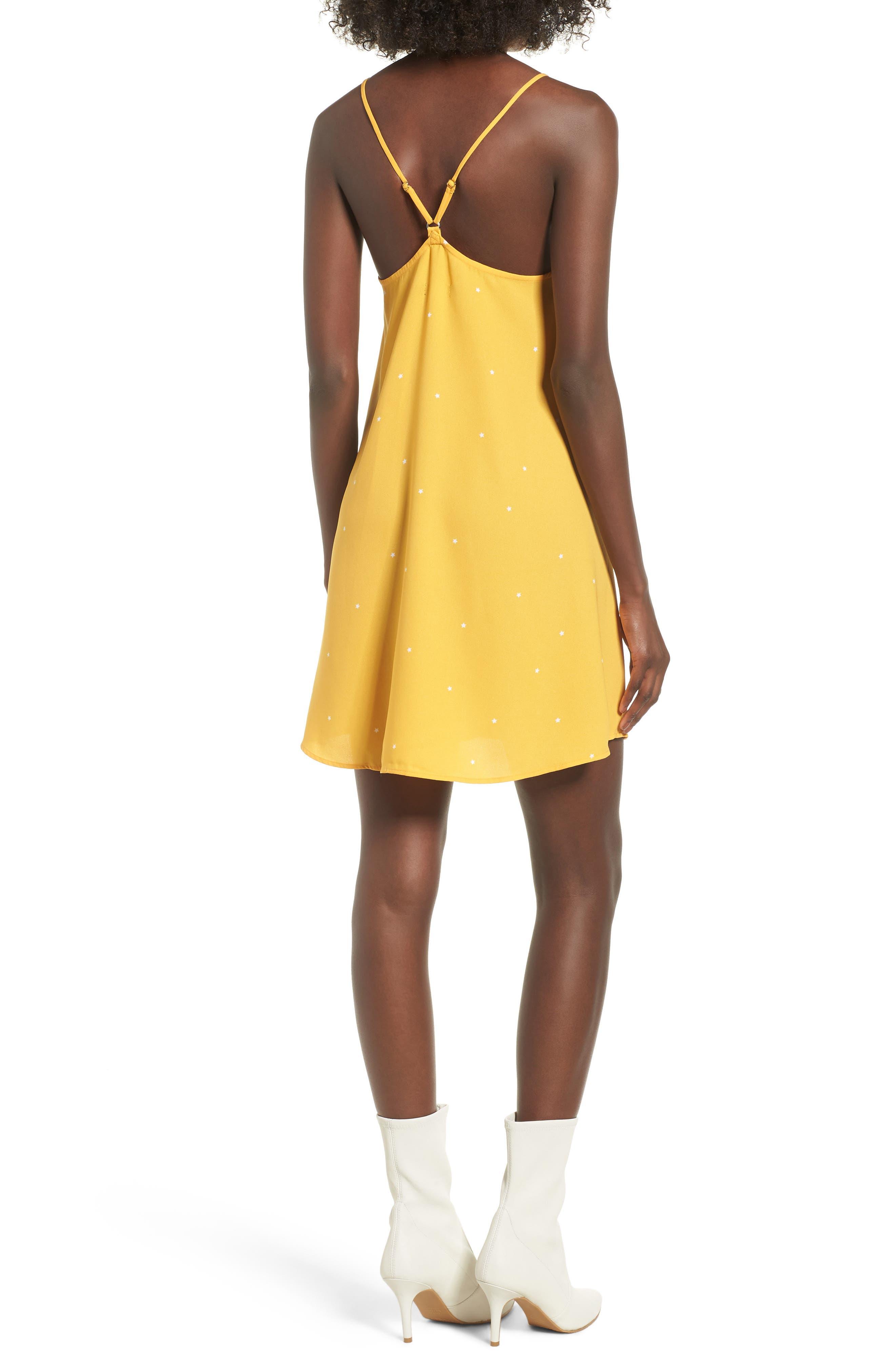 Mental 4 Metal Star Print Dress,                             Alternate thumbnail 2, color,                             Citrus Gold