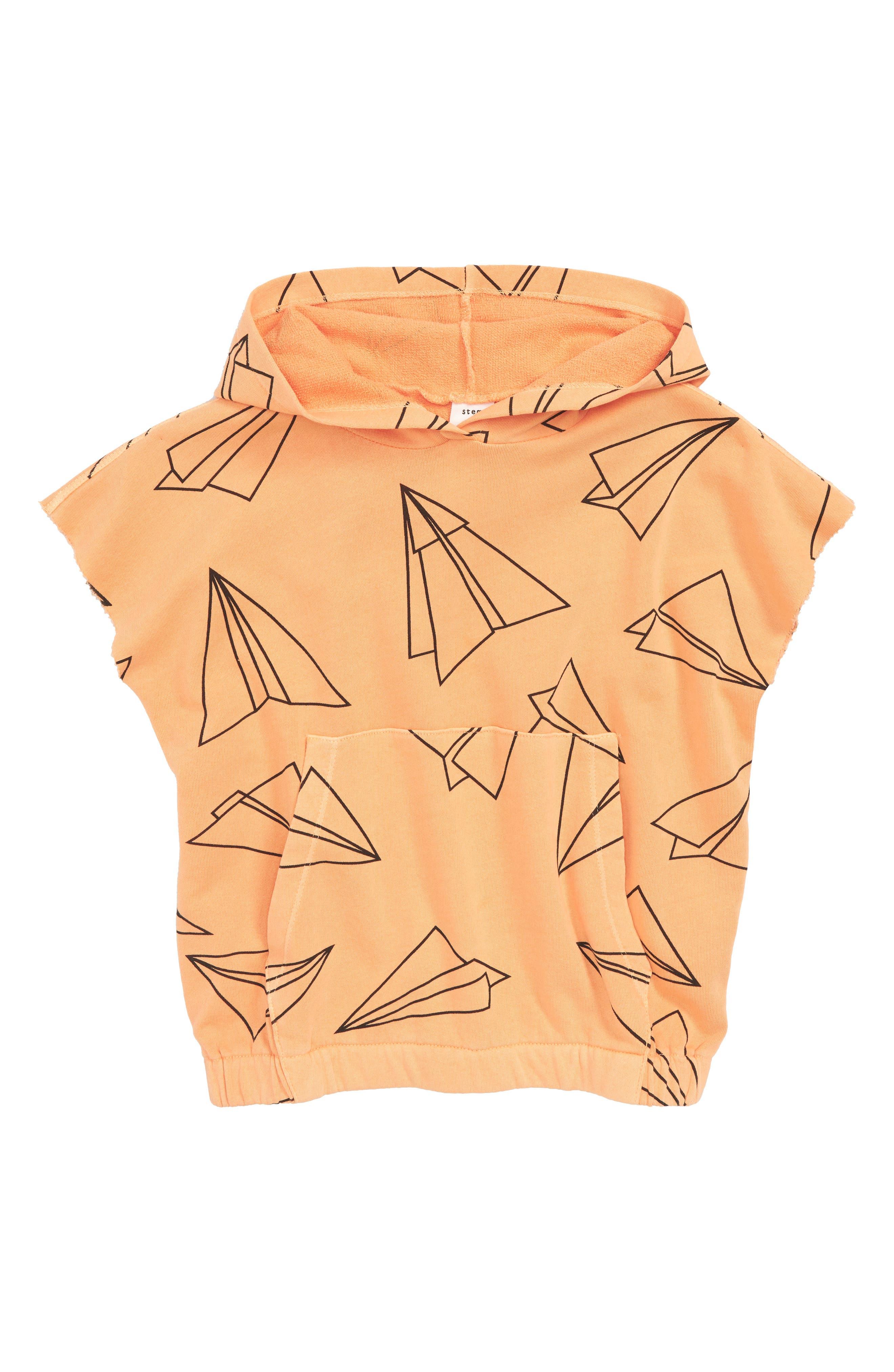 Short Sleeve Hoodie,                             Main thumbnail 1, color,                             Orange Nectar Airplanes