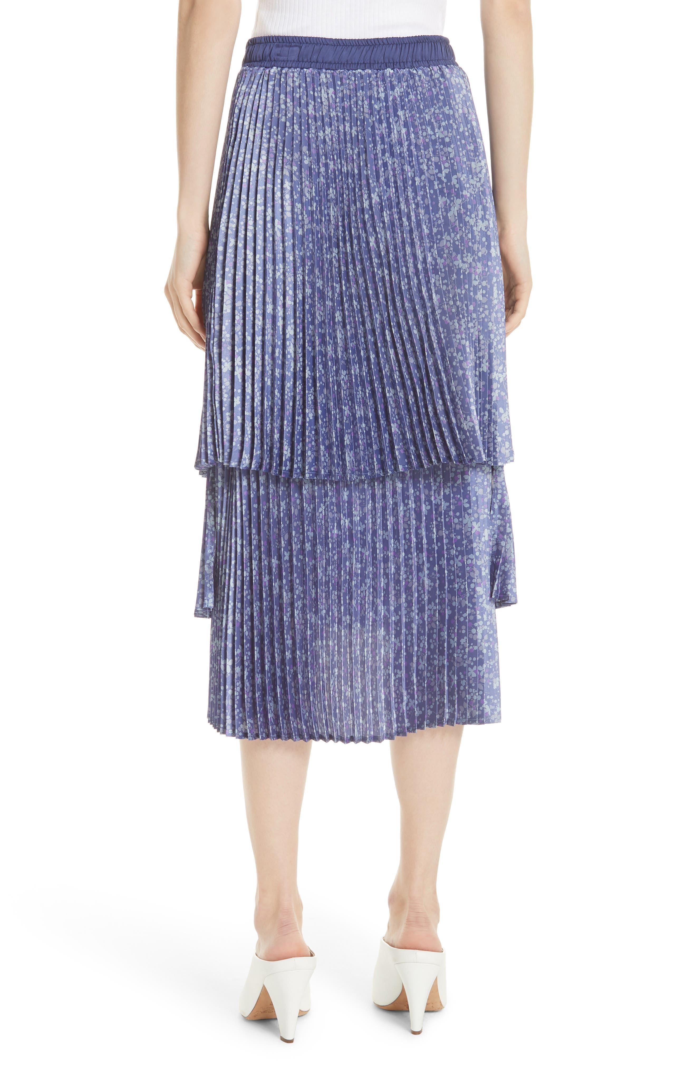 Floral Pleat Skirt,                             Alternate thumbnail 2, color,                             Blue