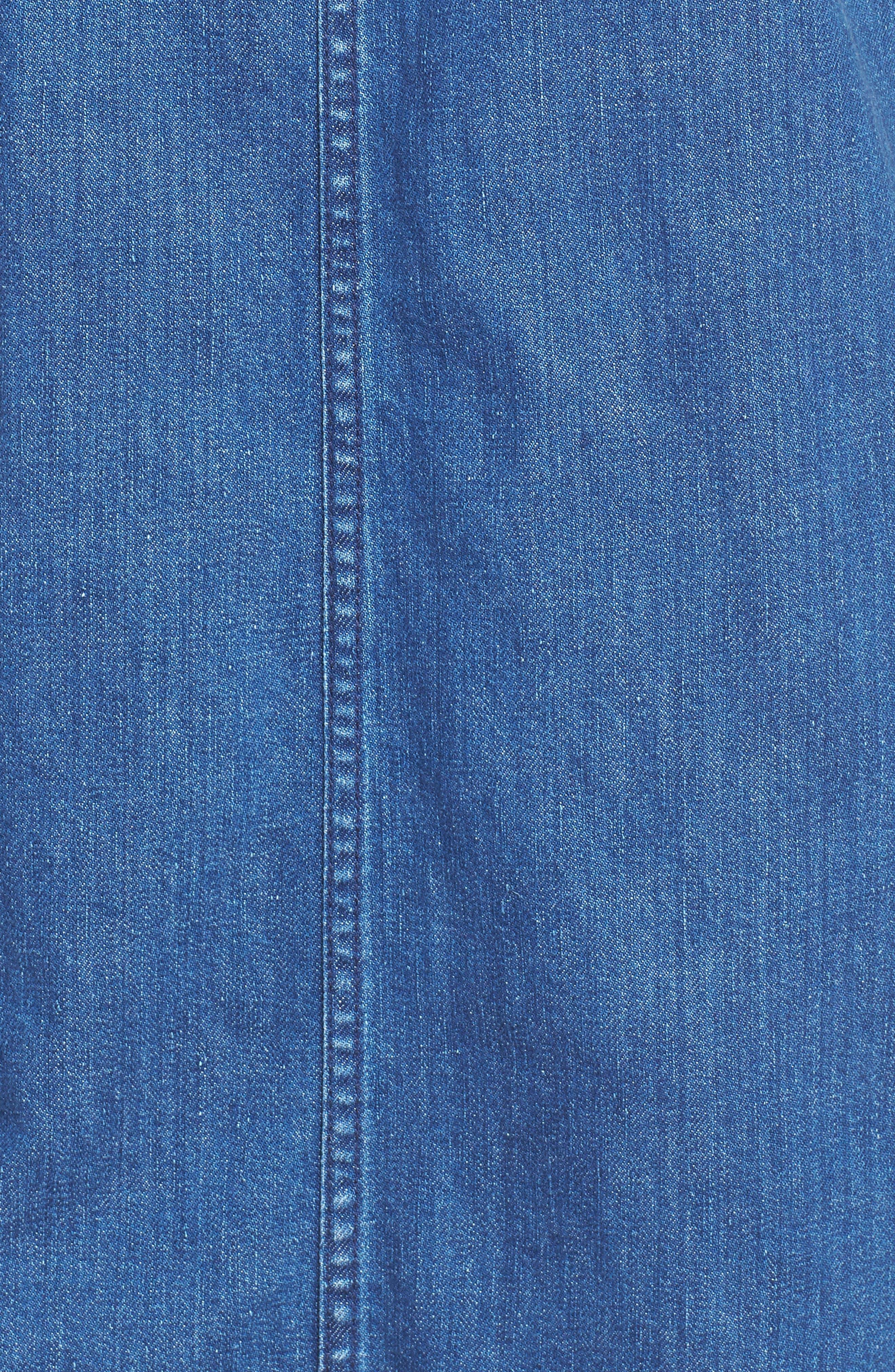 Raw Edge Hem Denim Shift Dress,                             Alternate thumbnail 5, color,                             York Wash