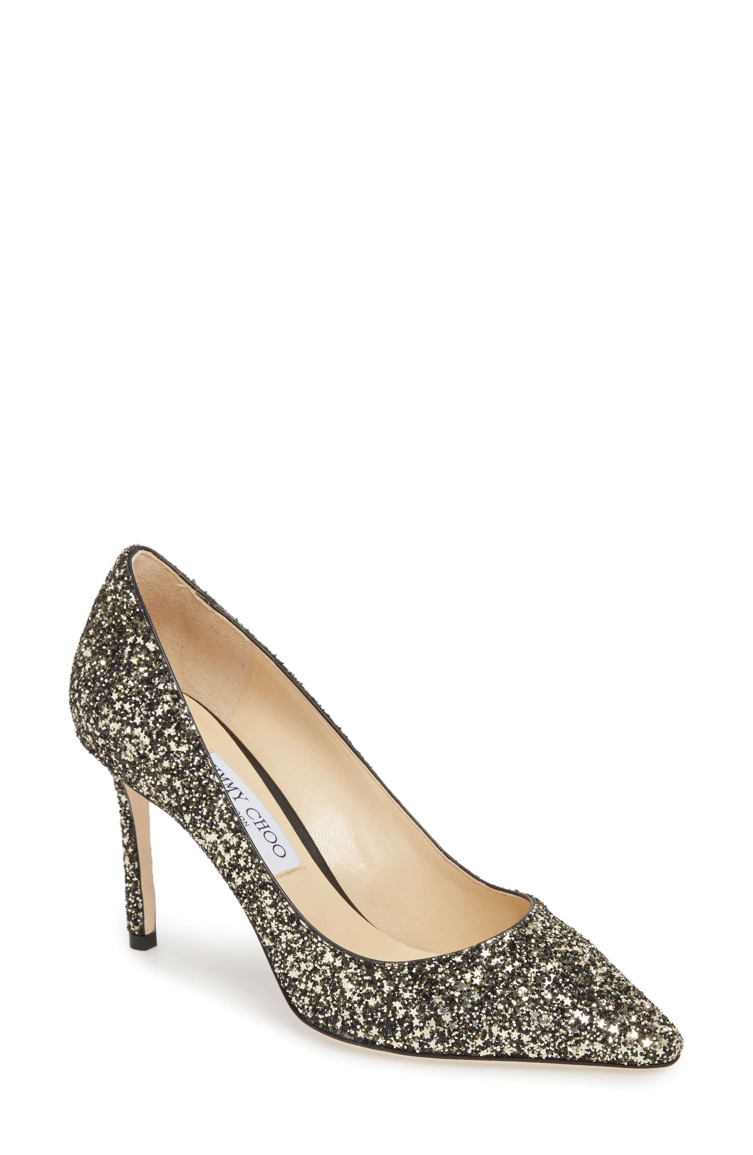 Romy Glitter Pointy Toe Pump,                         Main,                         color, Gold Mix