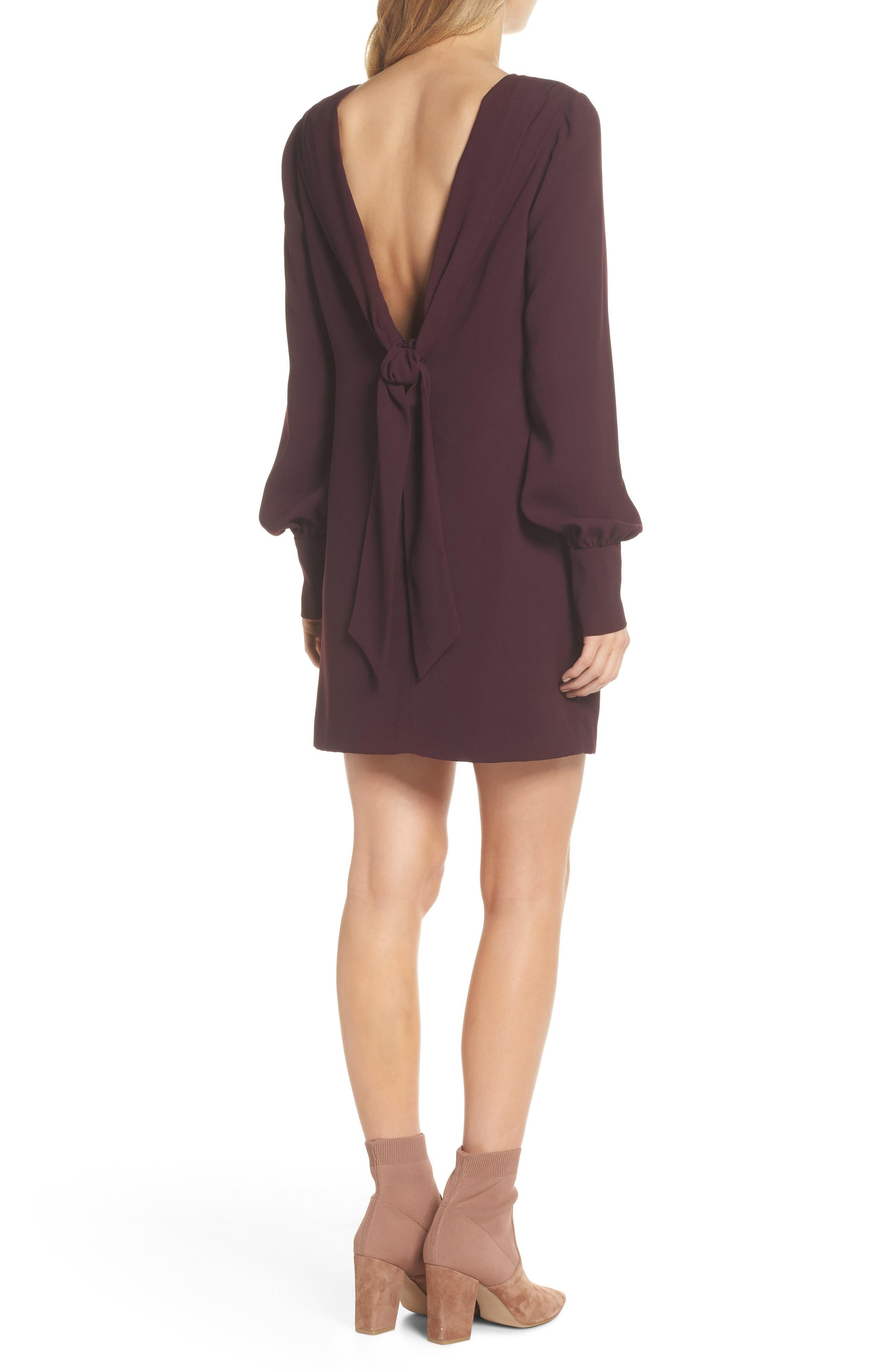 V-Back Shift Dress,                             Alternate thumbnail 3, color,                             Burgundy Stem