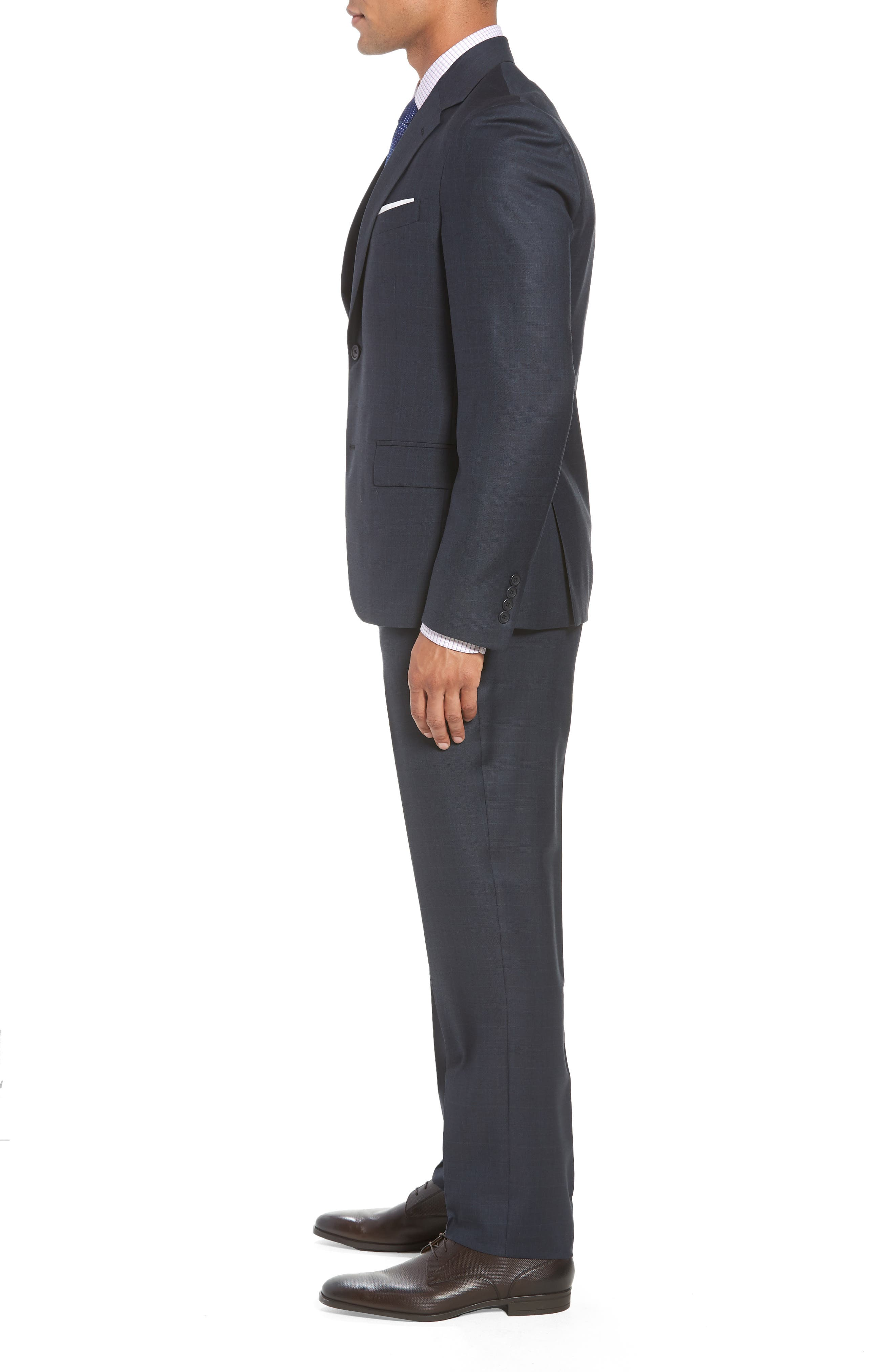 Trim Fit Plaid Wool Suit,                             Alternate thumbnail 3, color,                             Navy