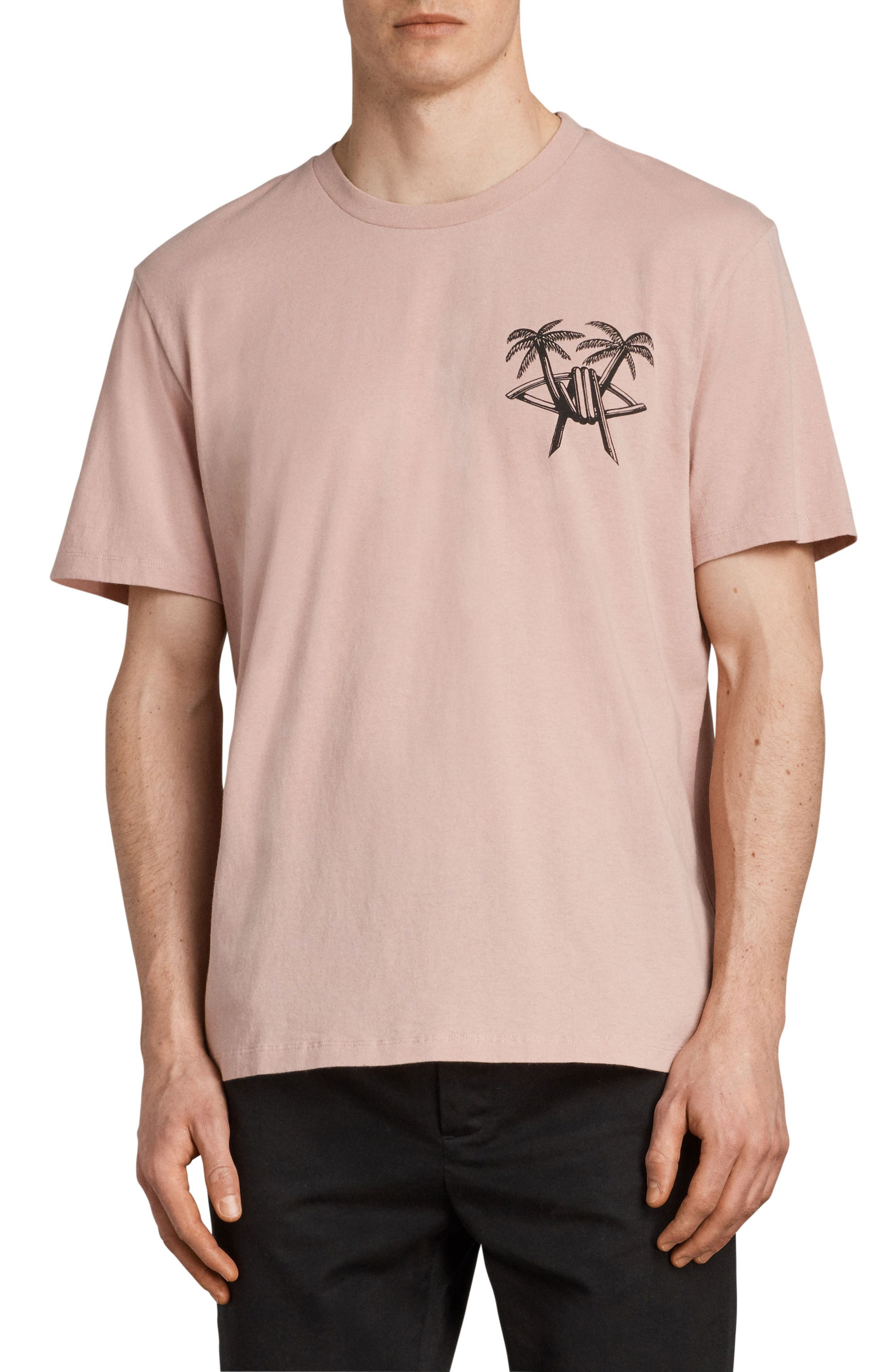 Barbed Palm Short Sleeve T-Shirt,                         Main,                         color, Crepe Pink