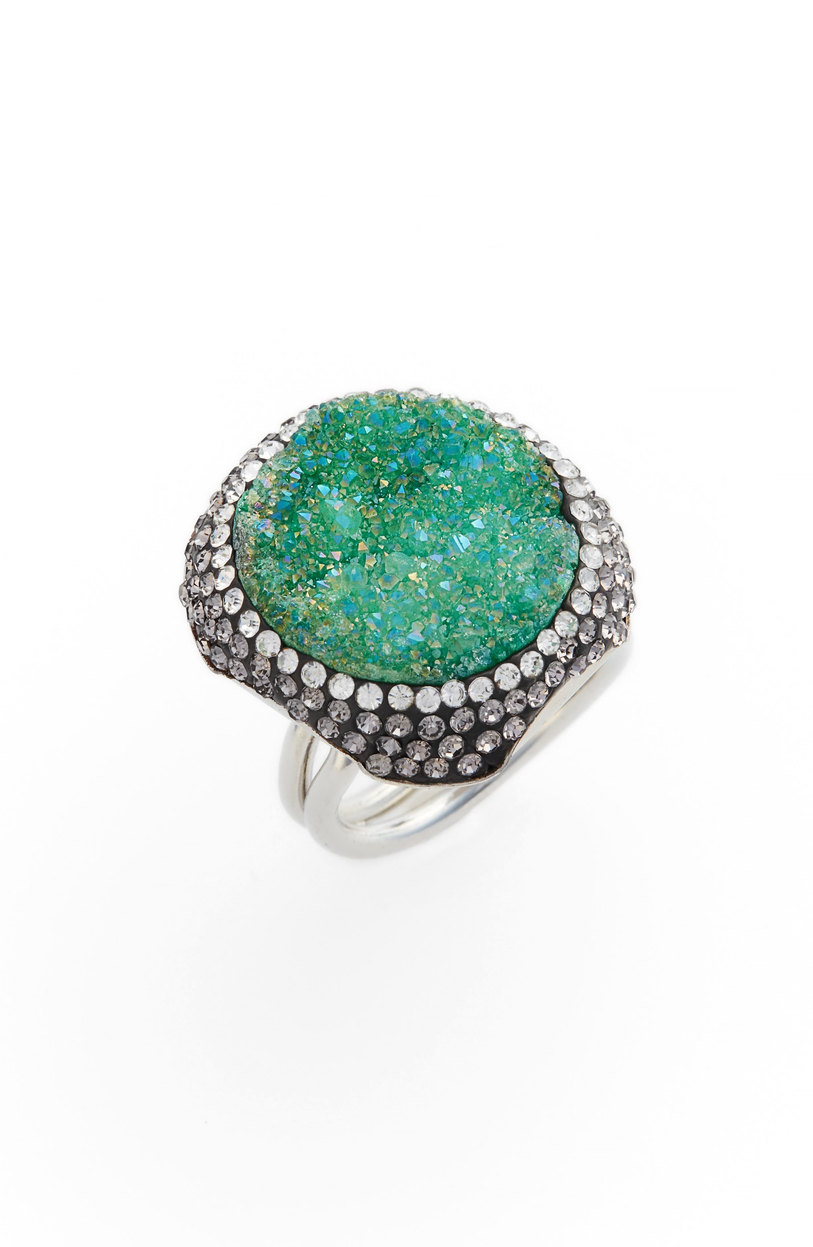 Goddess Drusy & Crystal Ring,                             Main thumbnail 1, color,                             Emerald