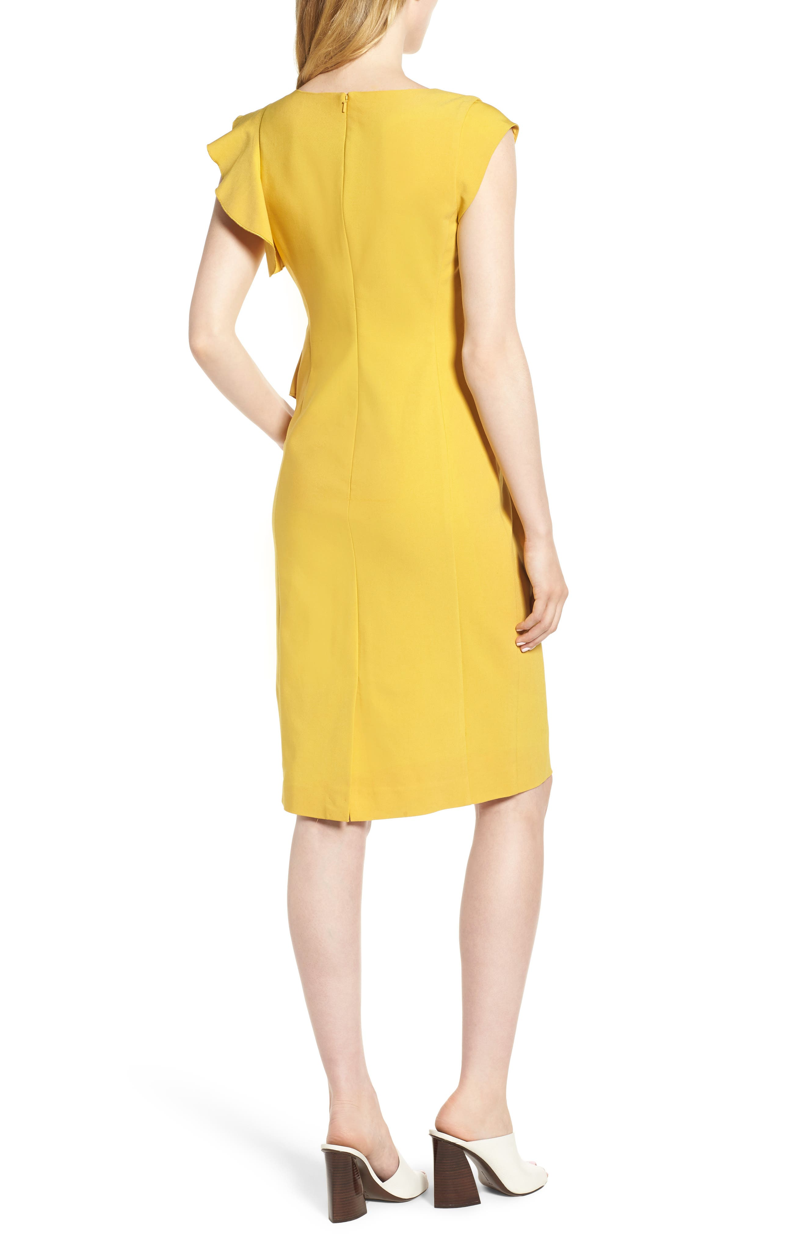 Ruffle Trim Sheath Dress,                             Alternate thumbnail 2, color,                             Yellow Tea