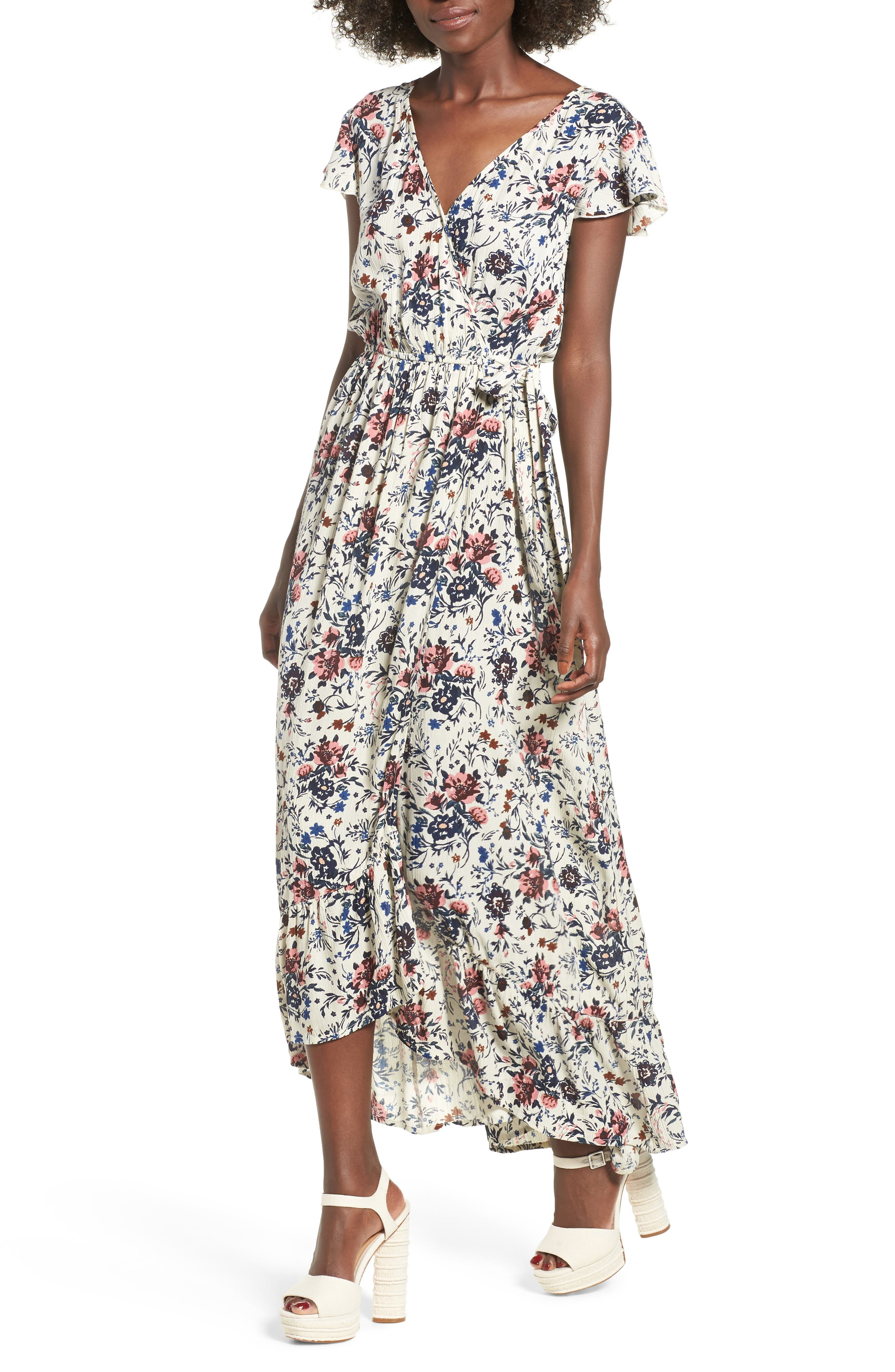Floral Maxi Dress,                             Main thumbnail 1, color,                             Ivory Floral