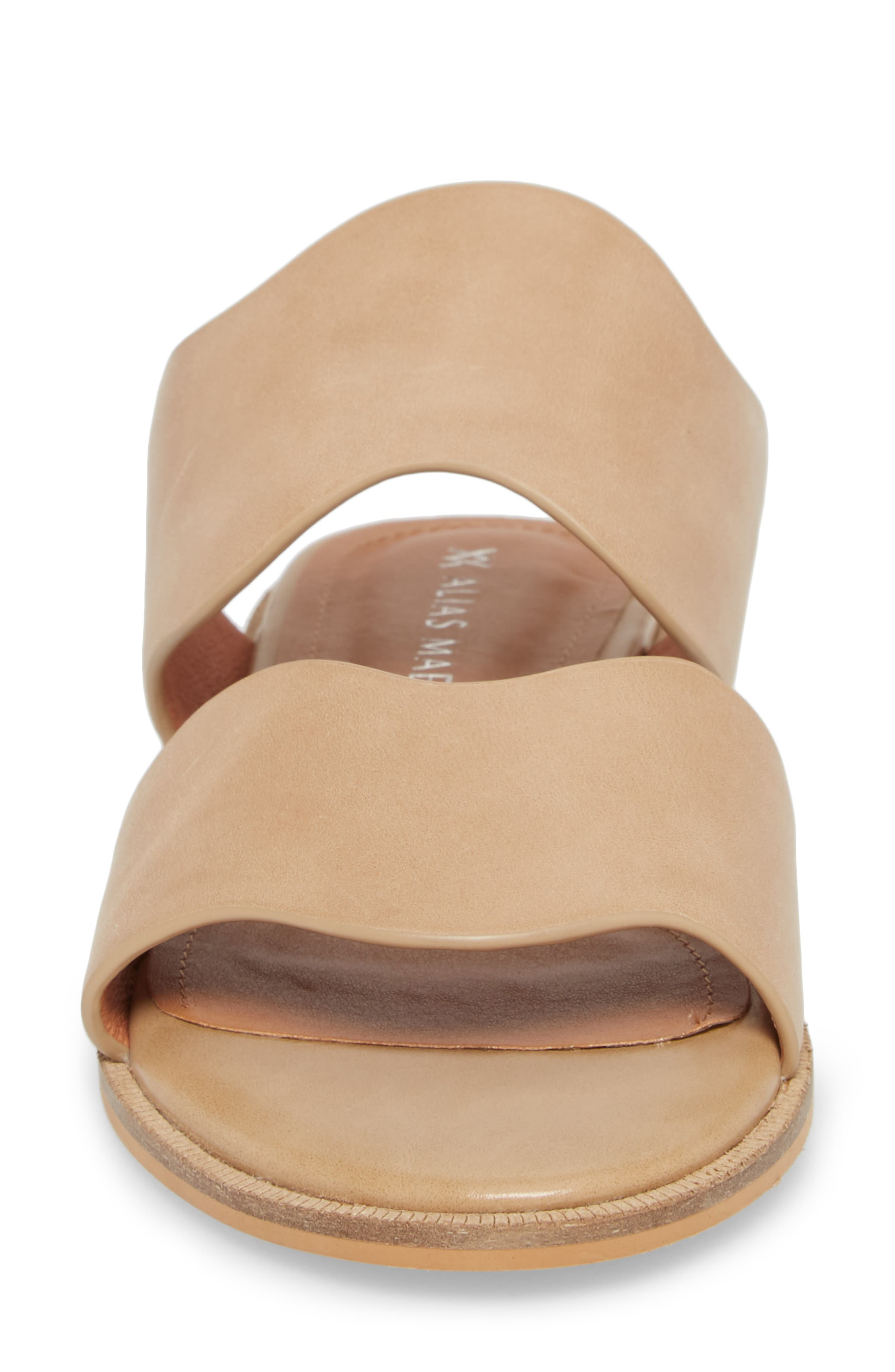Thermos Scalloped Slide Sandal,                             Alternate thumbnail 4, color,                             Natural Leather