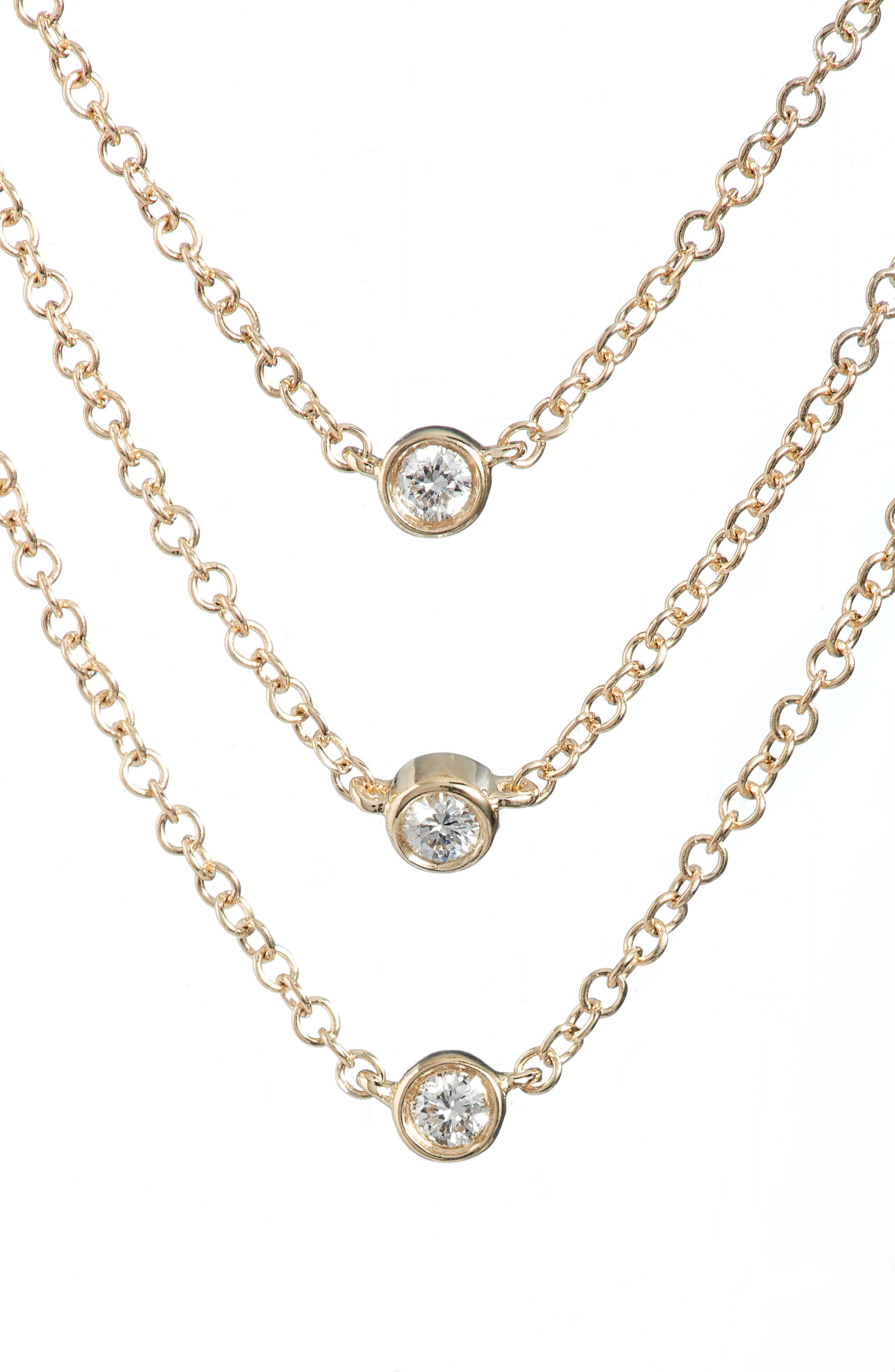 Diamond Triple Bezel Layered Necklace,                         Main,                         color, Yellow Gold