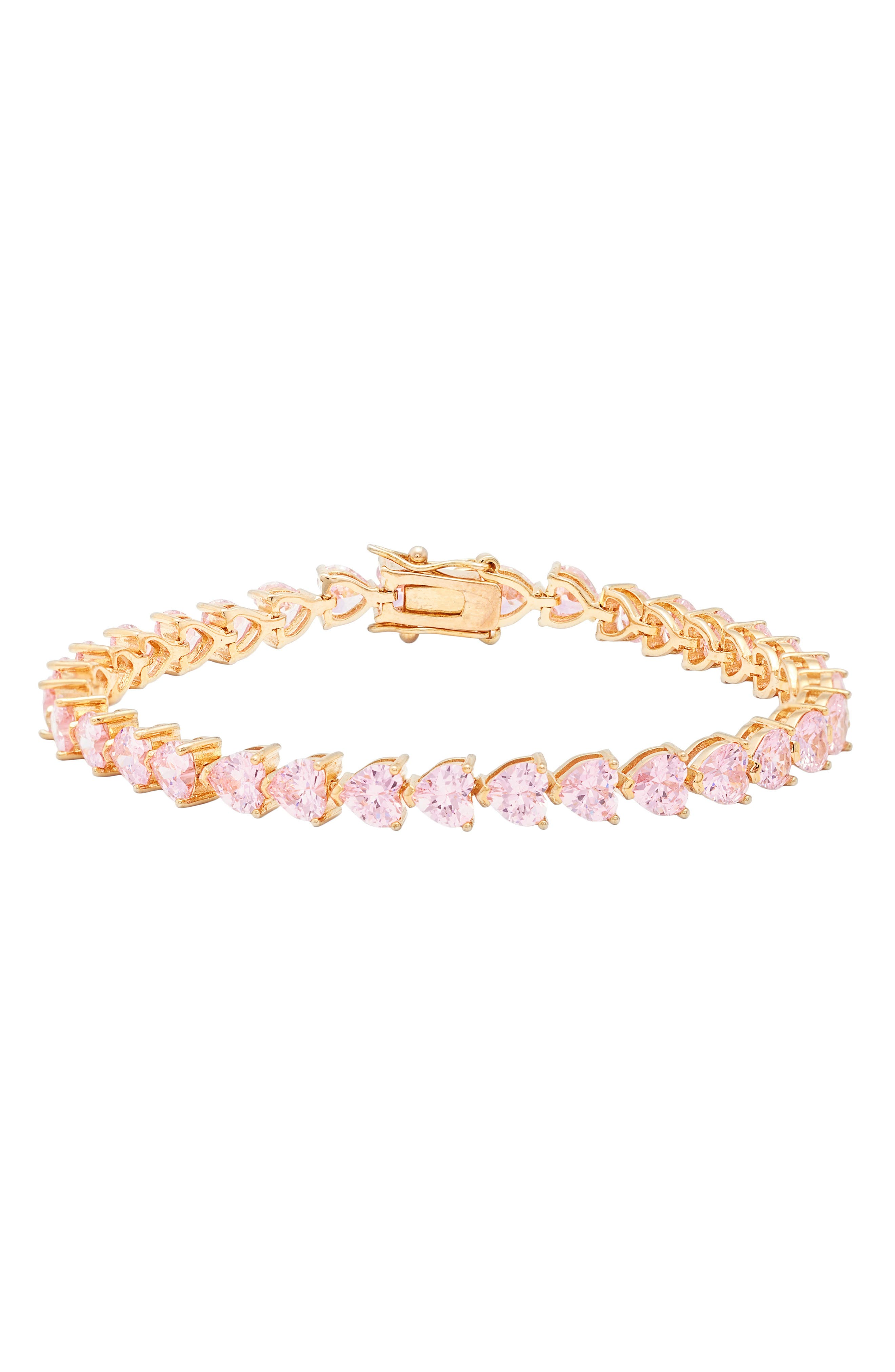 Heart Shaped Cubic Zirconia Link Bracelet,                             Main thumbnail 1, color,                             Pink/ Gold