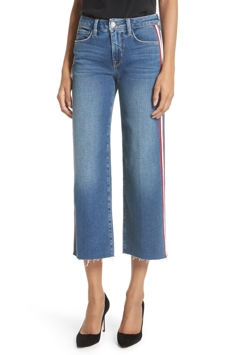 Danica Side Stripe Crop Wide Leg Jeans