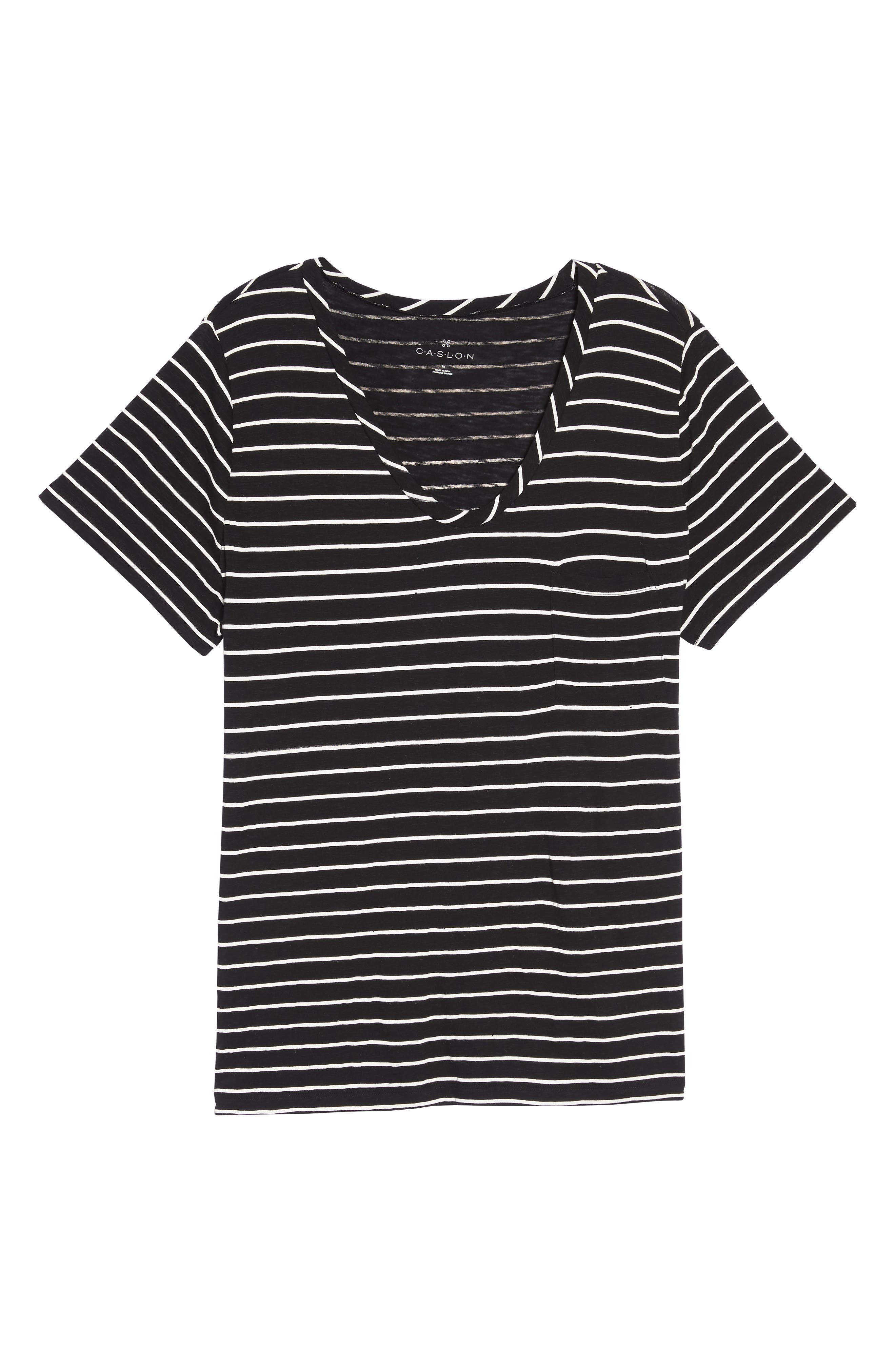 Rounded V-Neck Tee,                             Alternate thumbnail 7, color,                             Black- White Julia Stripe