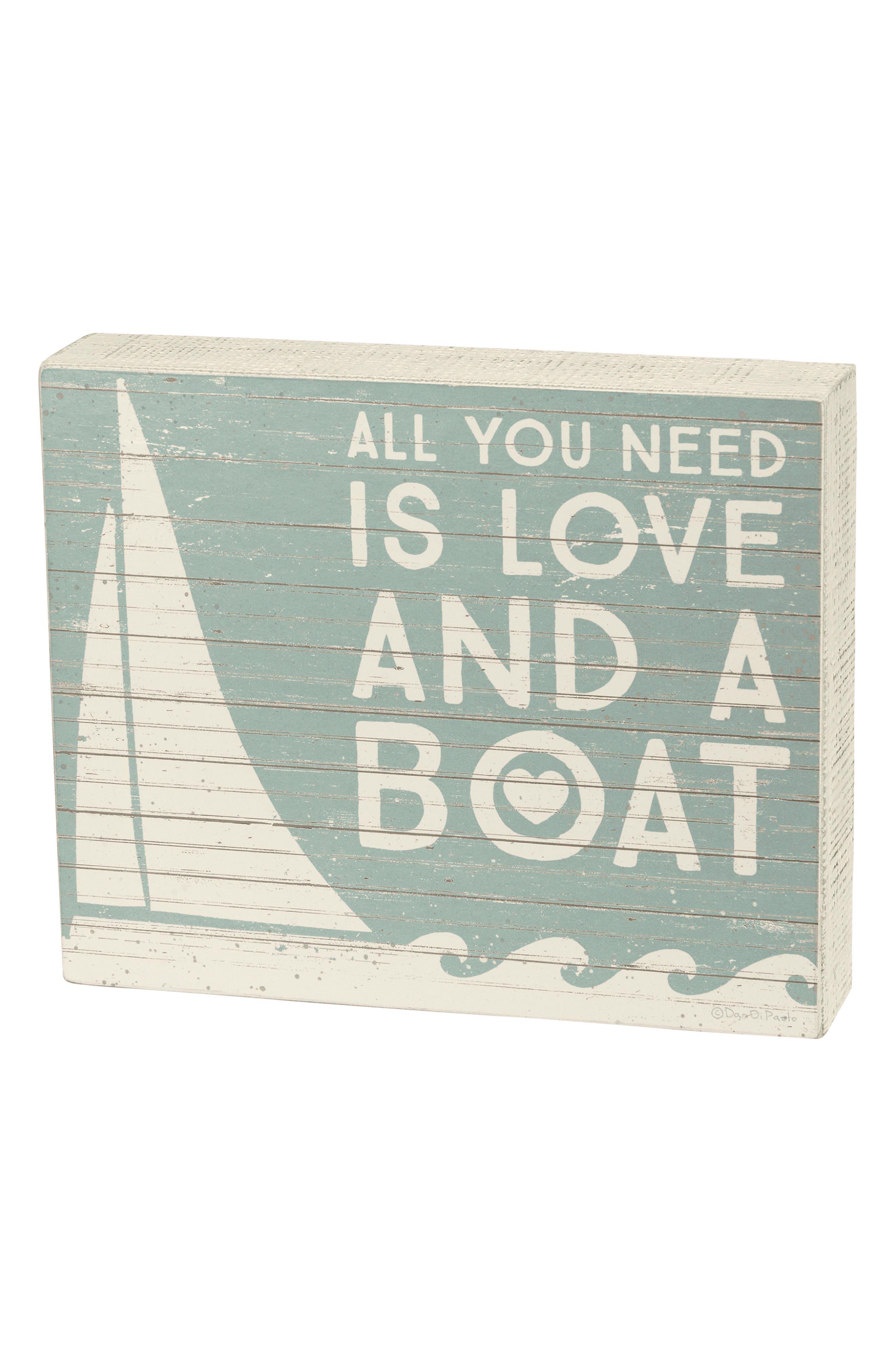 Love & A Boat Box Sign,                         Main,                         color, Blue