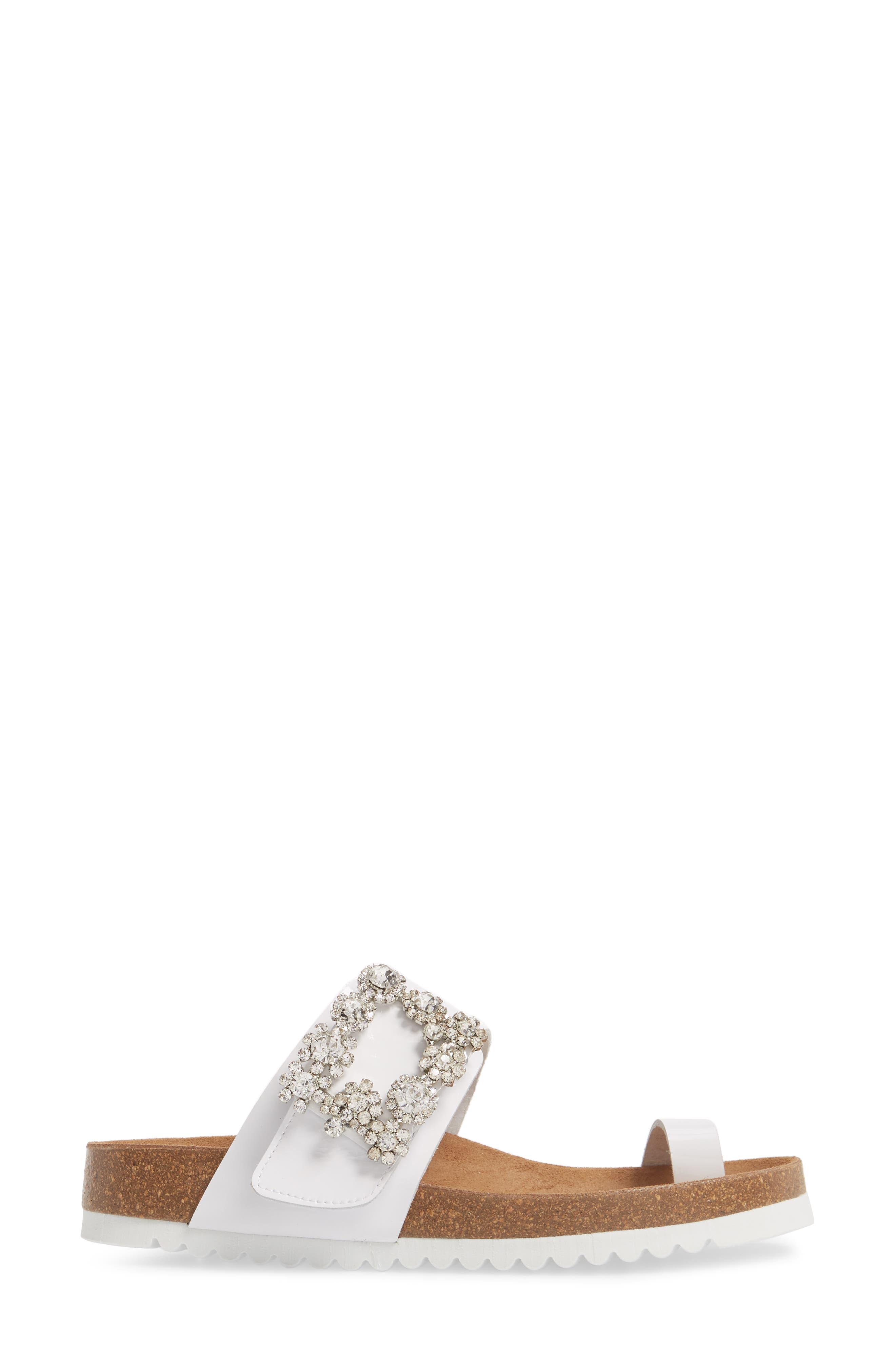 Bianca Embellished Slide Sandal,                             Alternate thumbnail 3, color,                             White Patent/ Silver