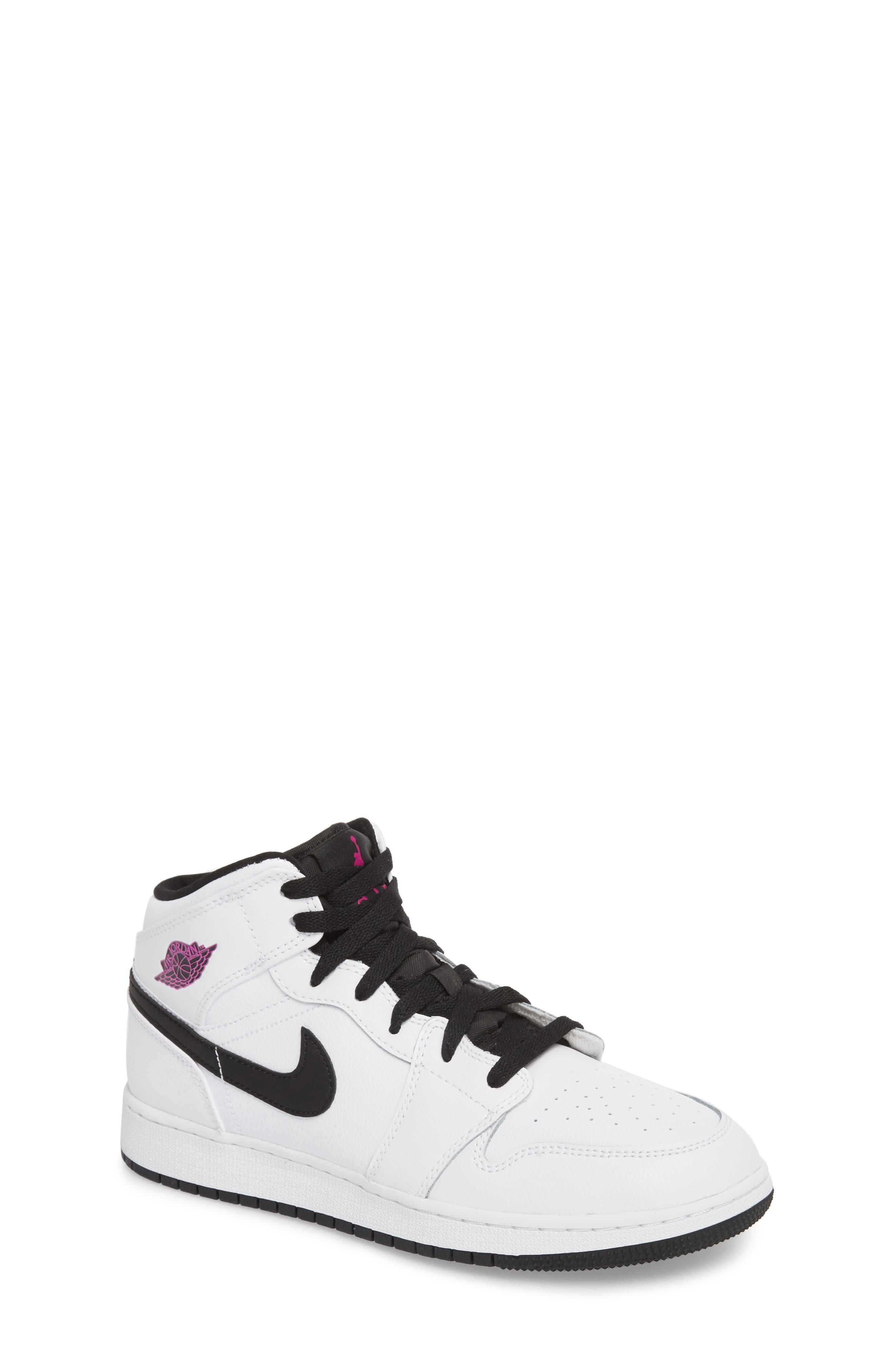 Nike 'Air Jordan 1 Mid' Sneaker,                             Main thumbnail 1, color,                             White/ Fuchsia Blast/ Black