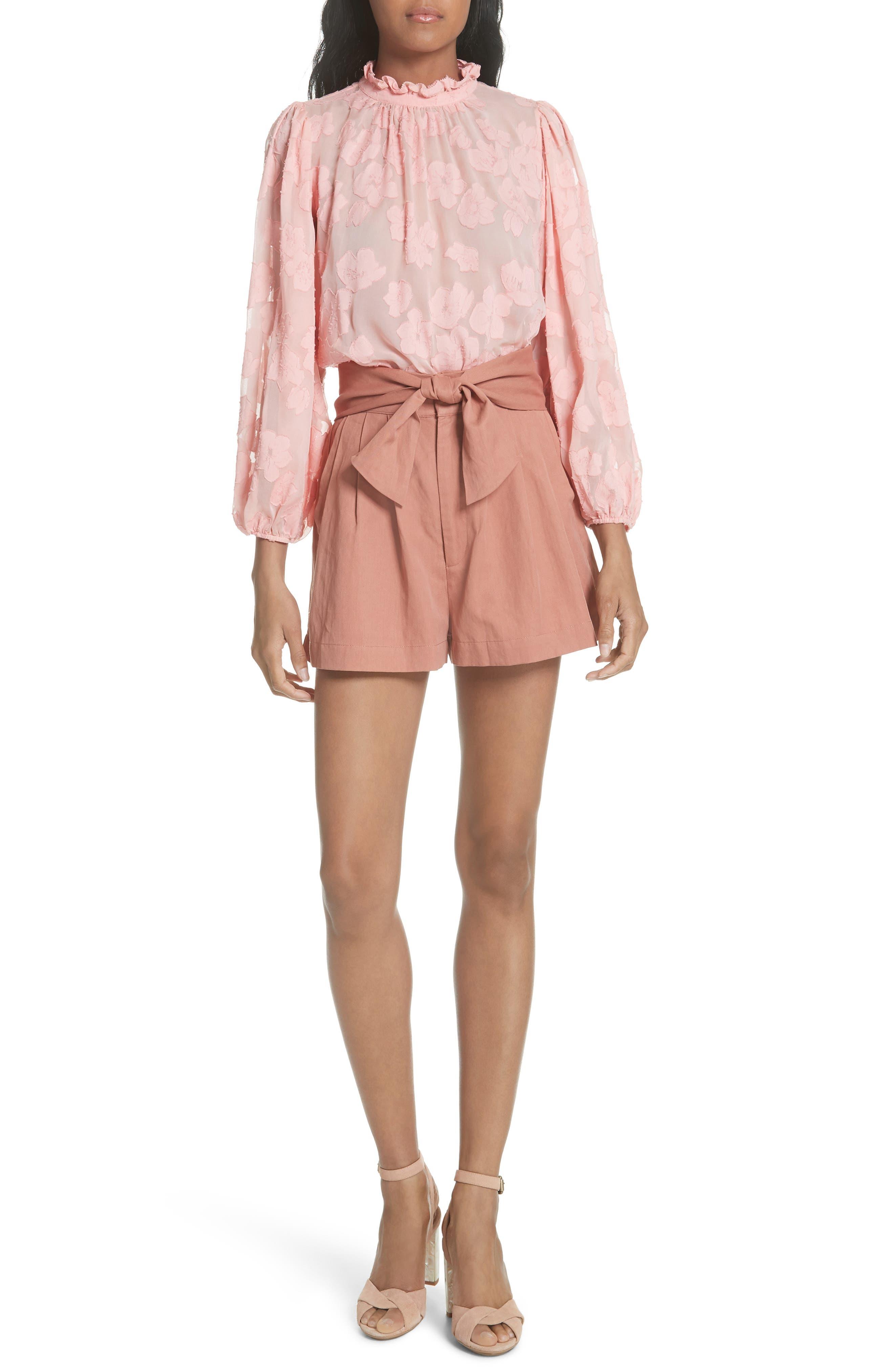 Sandrine Silk & Cotton Jacquard Blouse,                             Alternate thumbnail 7, color,                             Bubblegum