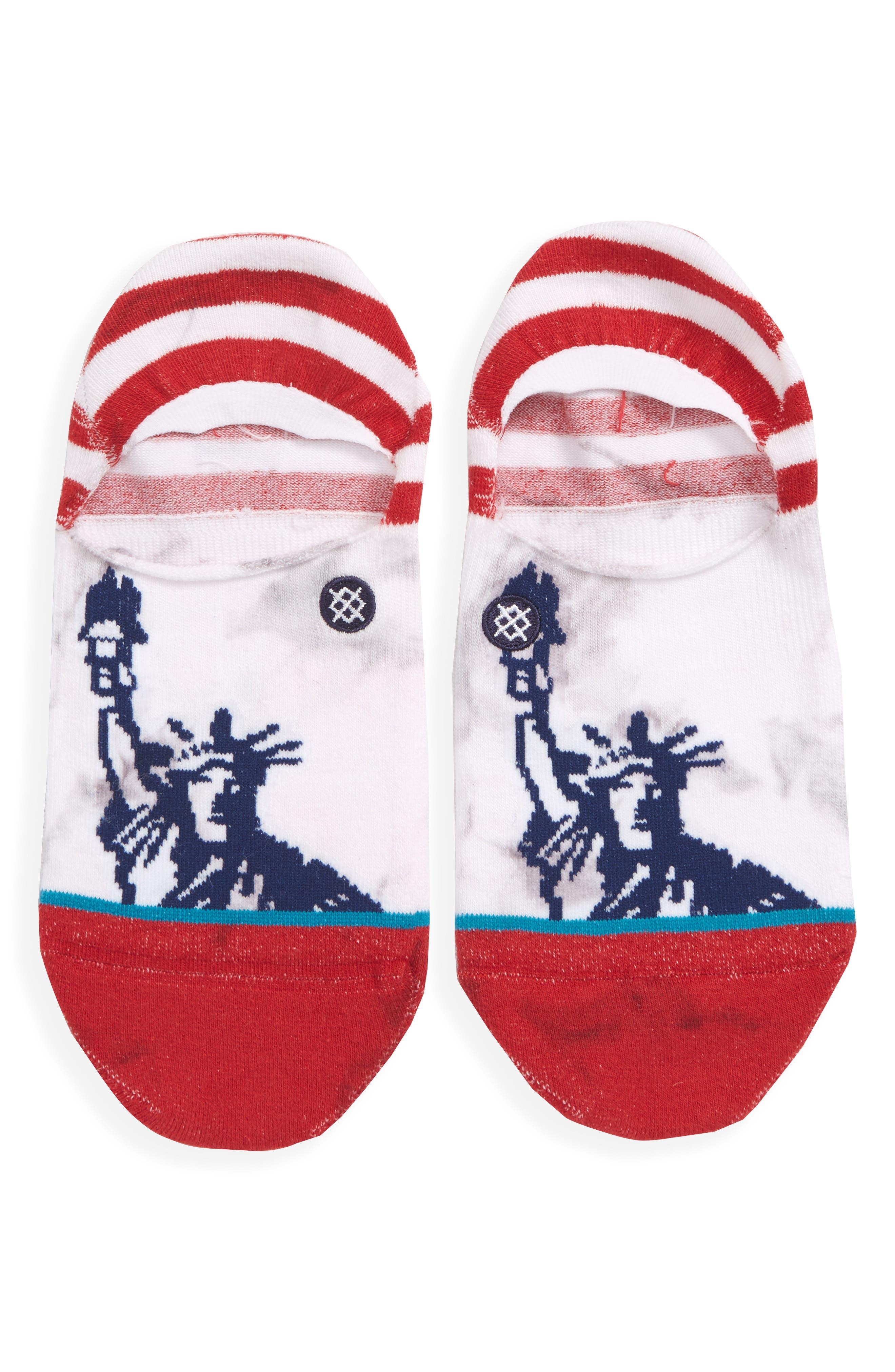 Liberties No-Show Socks,                             Main thumbnail 1, color,                             Red