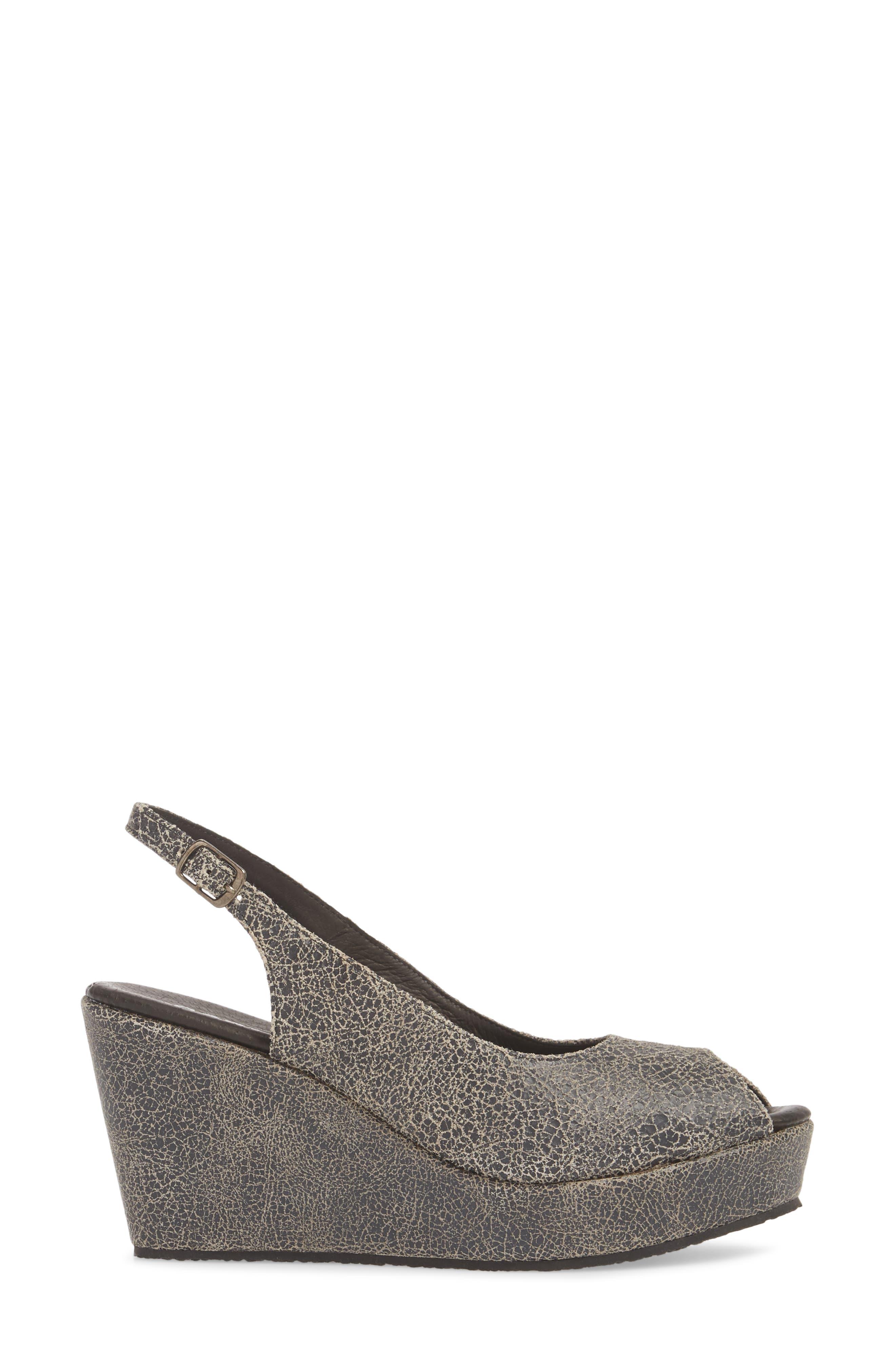 Fabrice Slingback Platform Sandal,                             Alternate thumbnail 3, color,                             Grey Crackle Leather