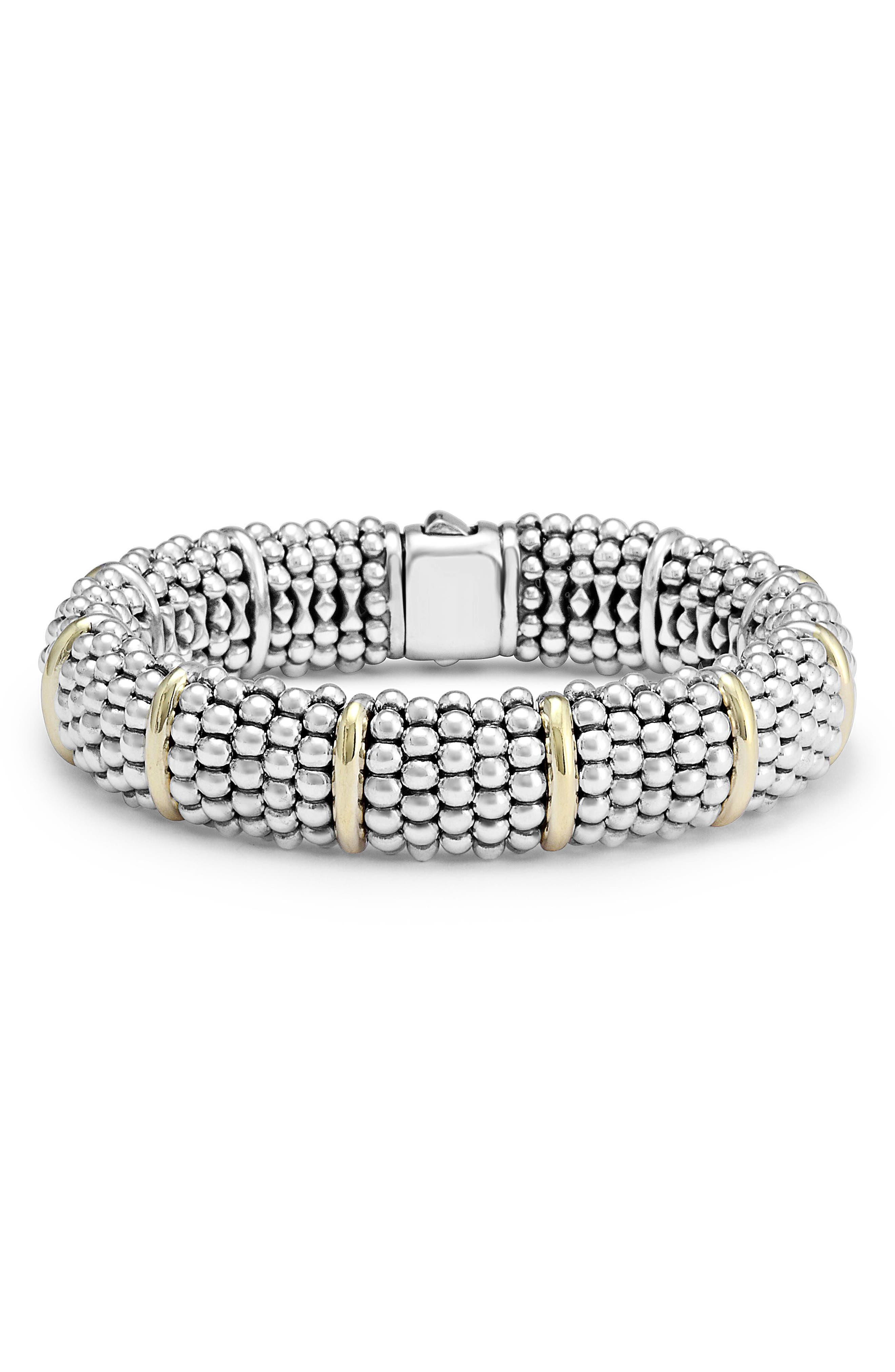 Oval Caviar Bracelet,                             Main thumbnail 1, color,                             Silver/ Gold