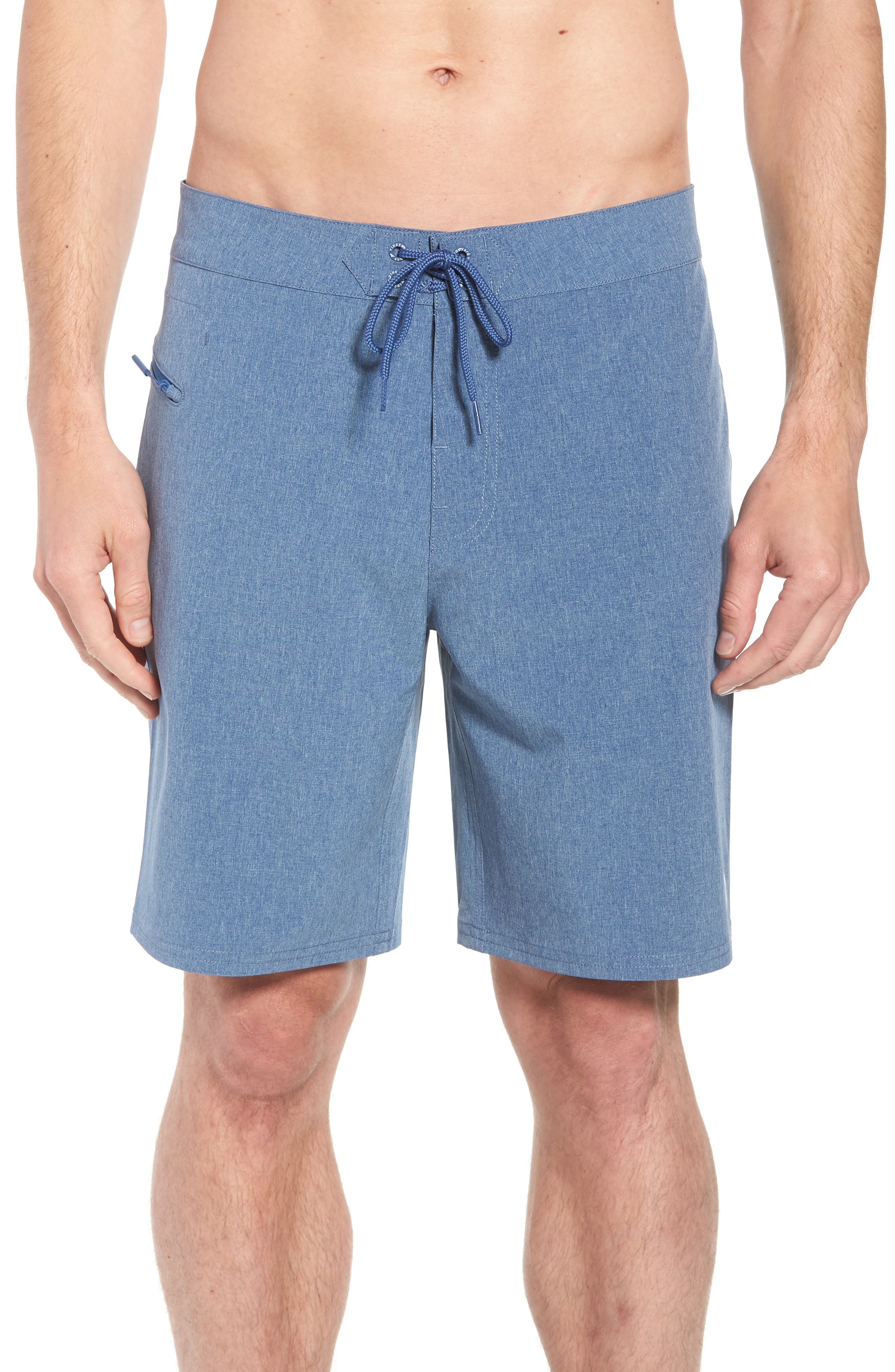 Heather Stretch Board Shorts,                         Main,                         color, Moonshine