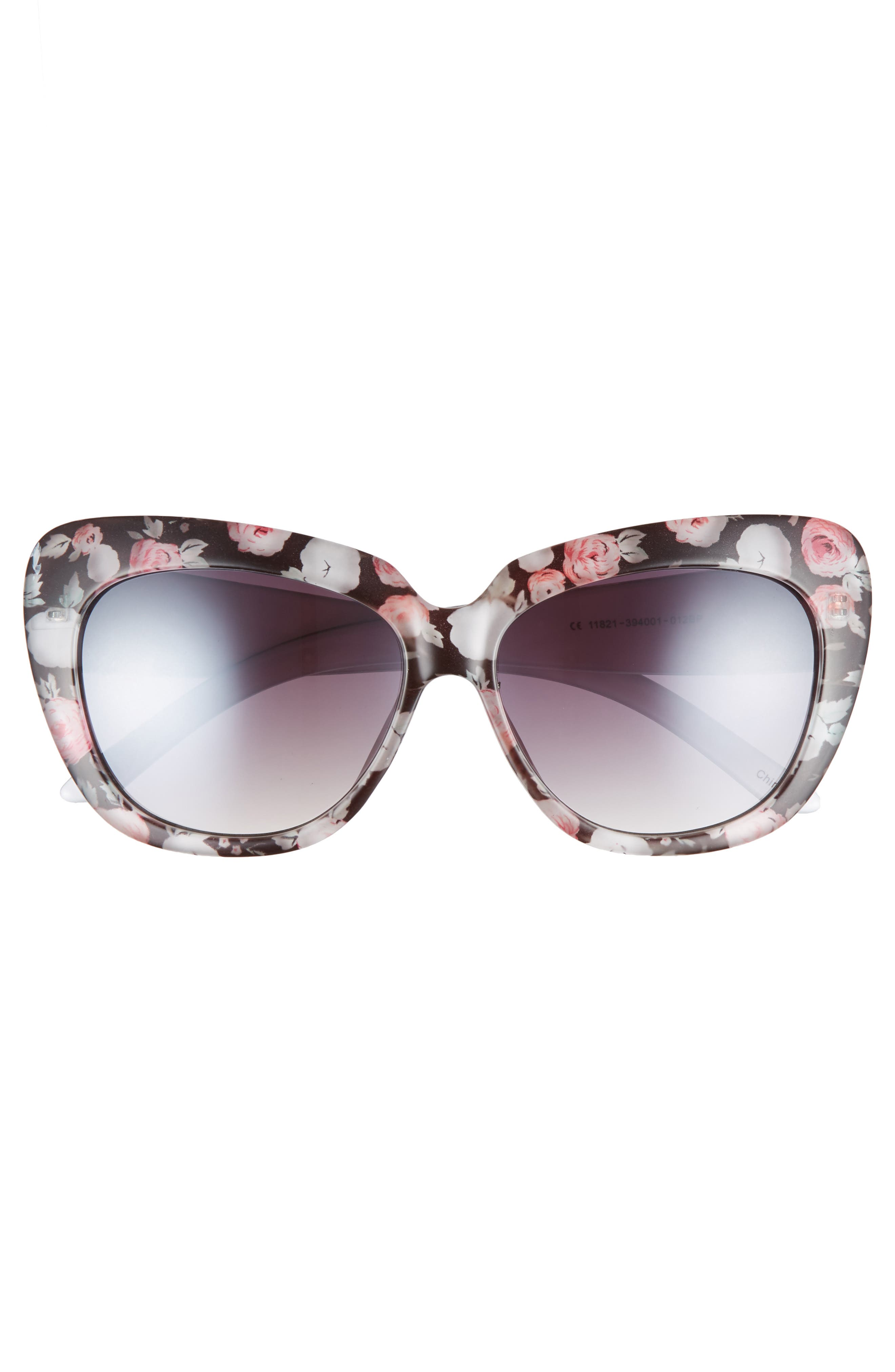 57mm Print Cat Eye Sunglasses,                             Alternate thumbnail 3, color,                             Black/ Multi
