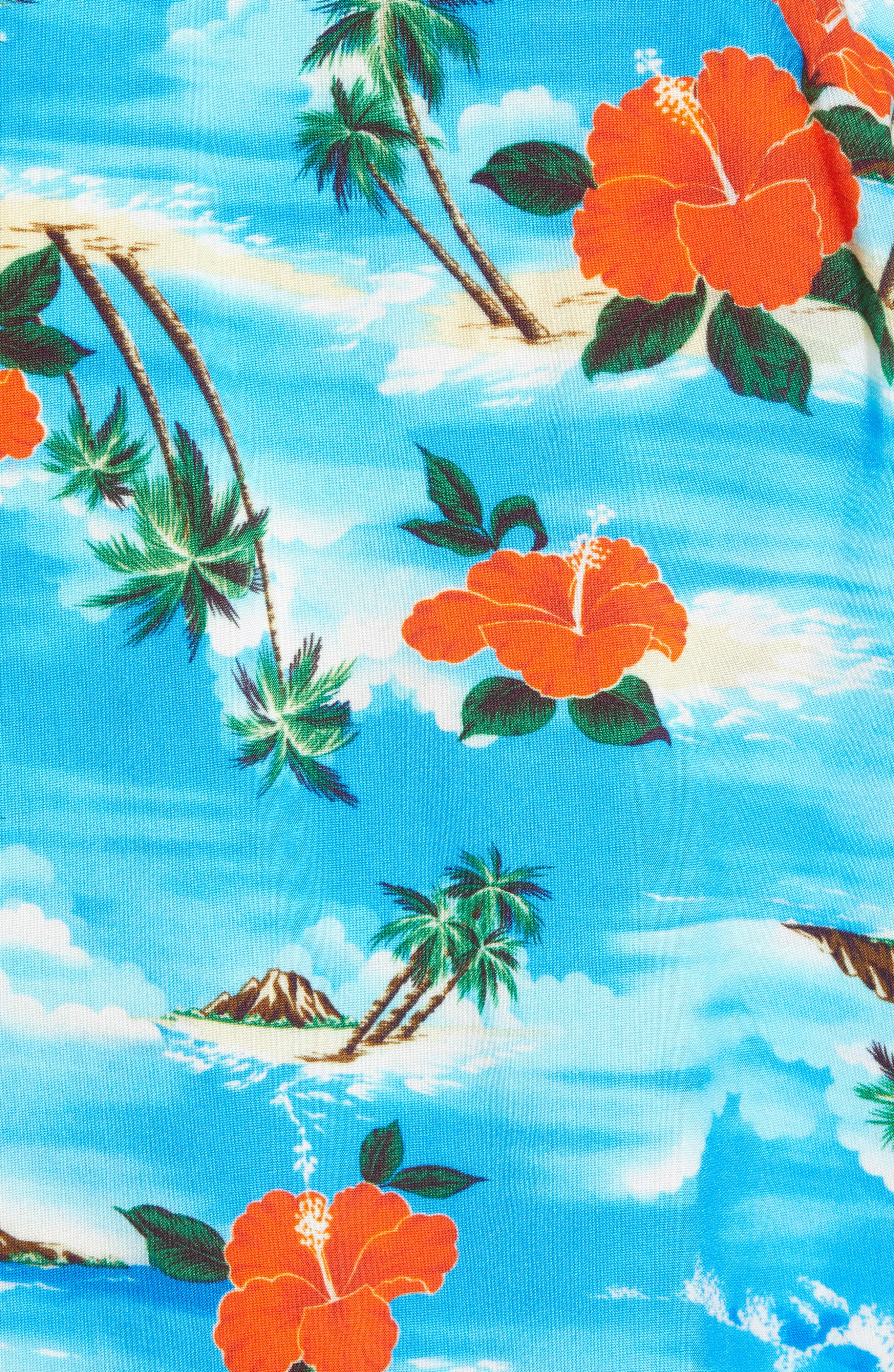 Regular Fit Print Camp Shirt,                             Alternate thumbnail 5, color,                             Blue Aloha