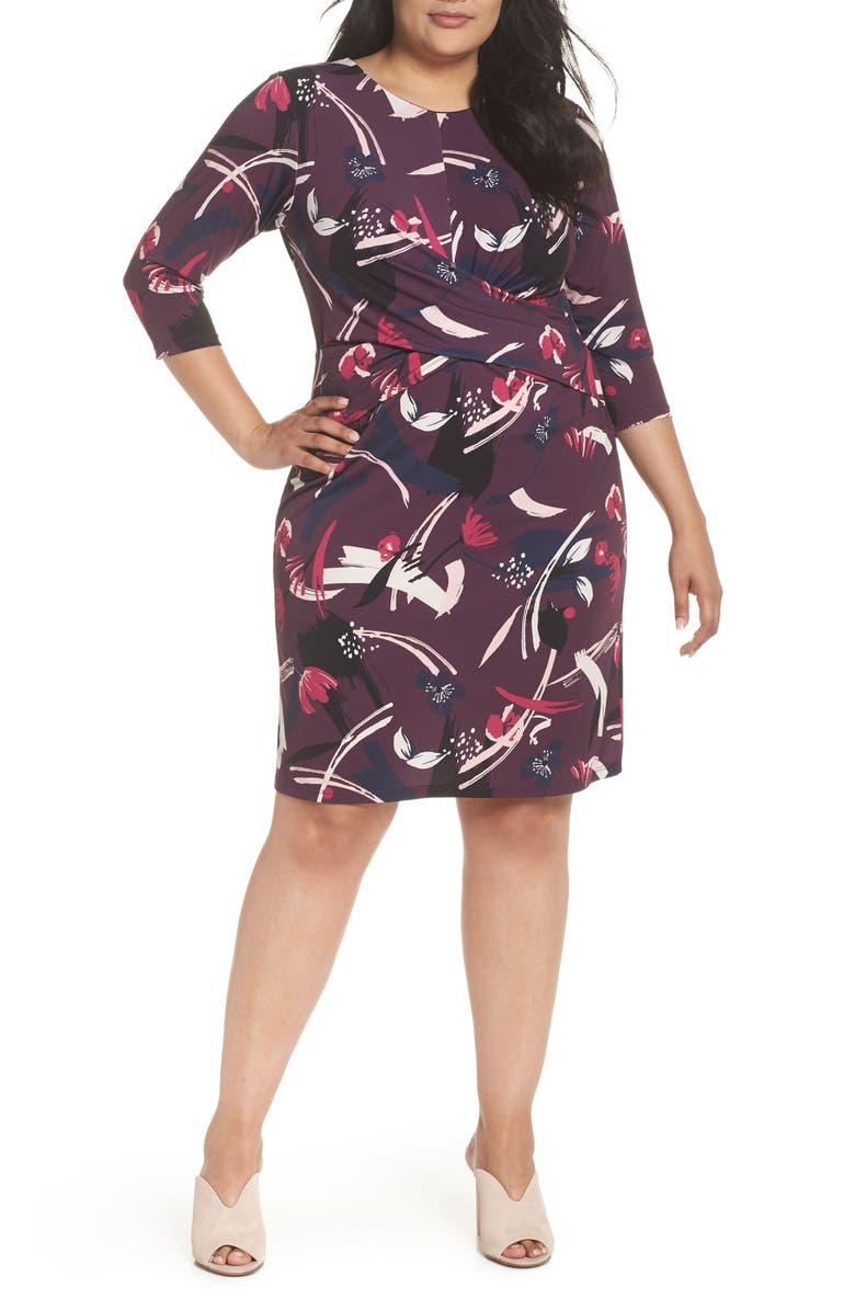 Crossover Bodice Jersey Sheath Dress