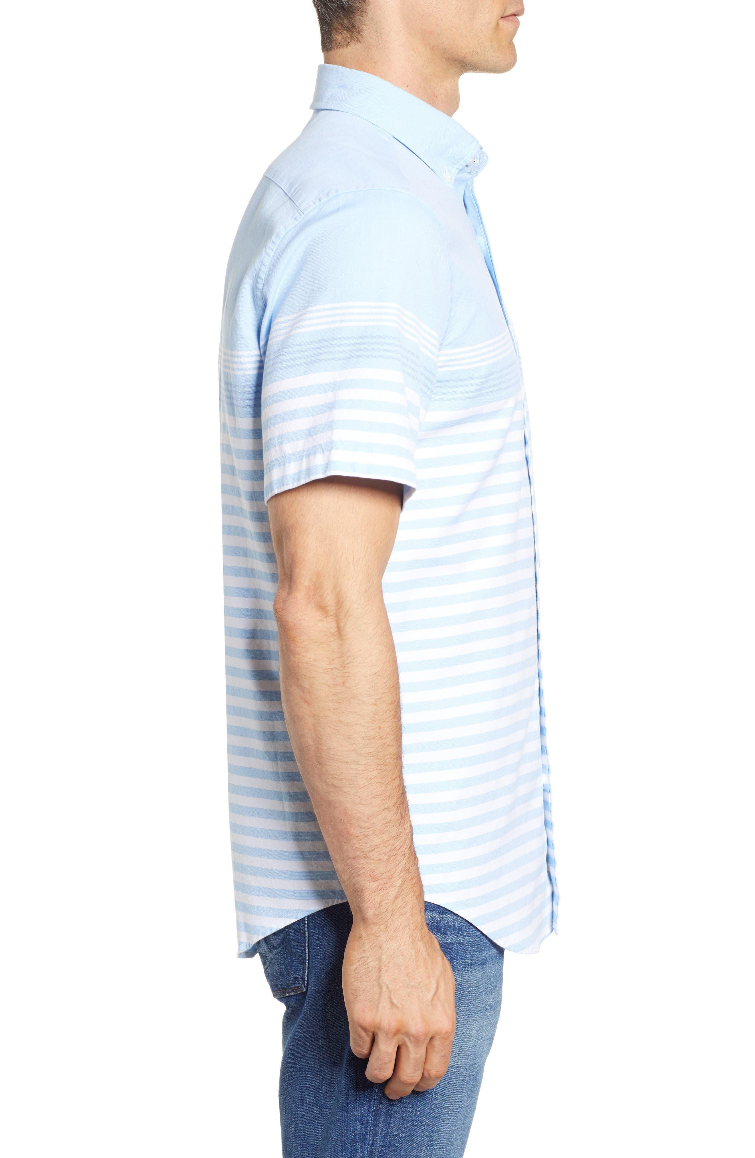 Sea Mist Stretch Short Sleeve Sport Shirt,                             Alternate thumbnail 4, color,                             Ocean Breeze