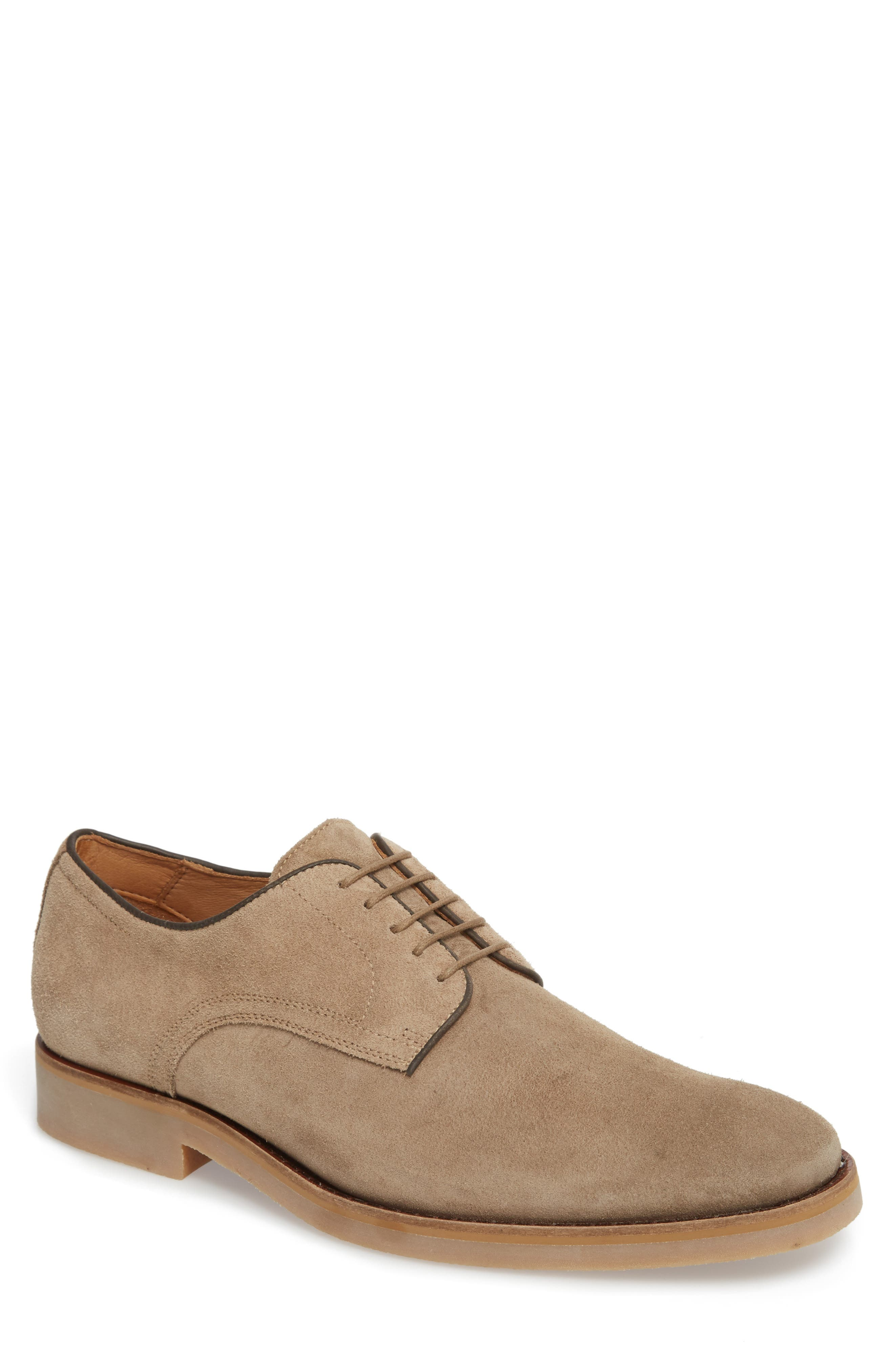 Santino Plain Toe Derby,                             Main thumbnail 1, color,                             Taupe Suede