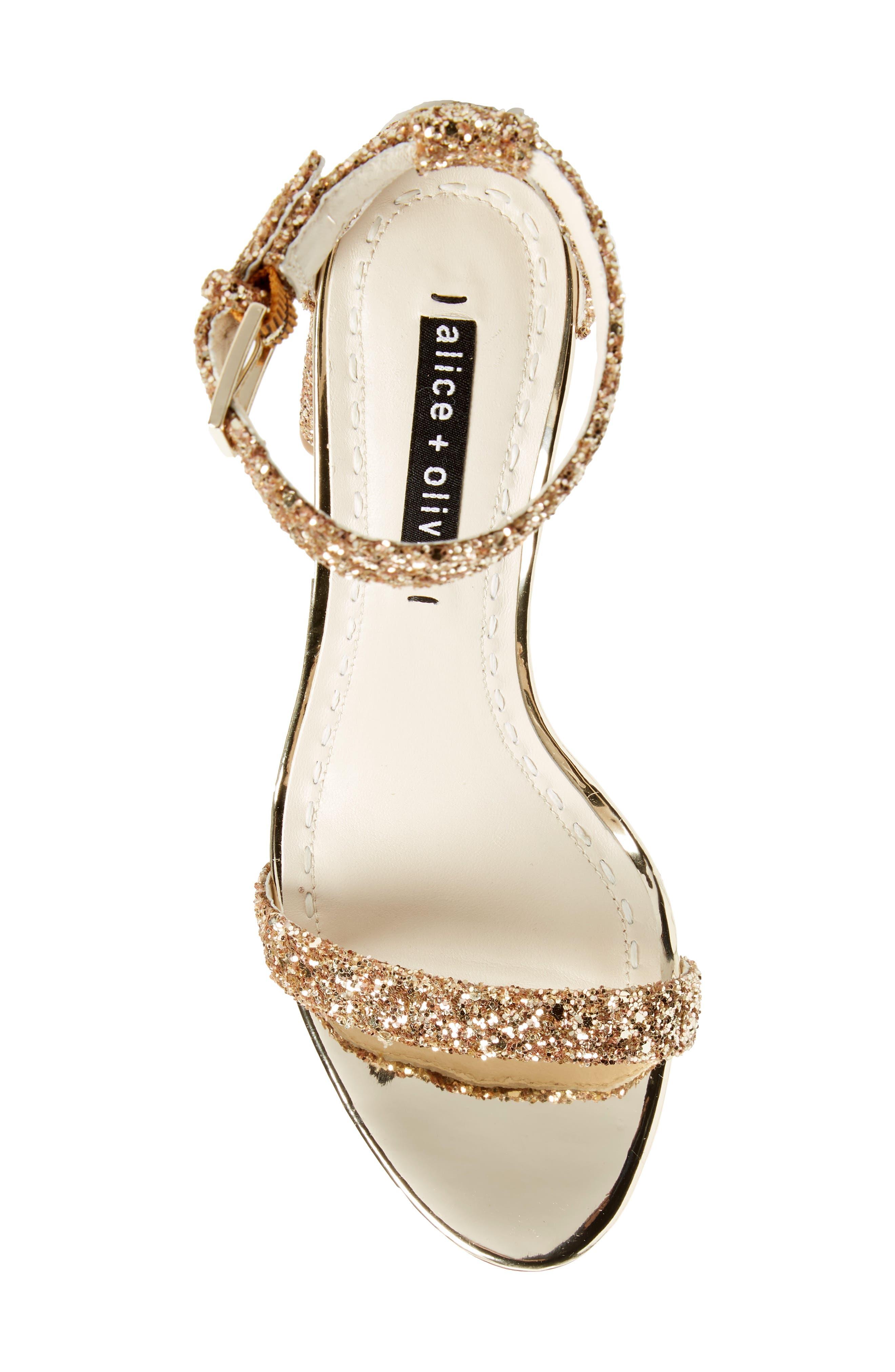 Lillian Glitter Ankle Strap Sandal,                             Alternate thumbnail 5, color,                             Gold