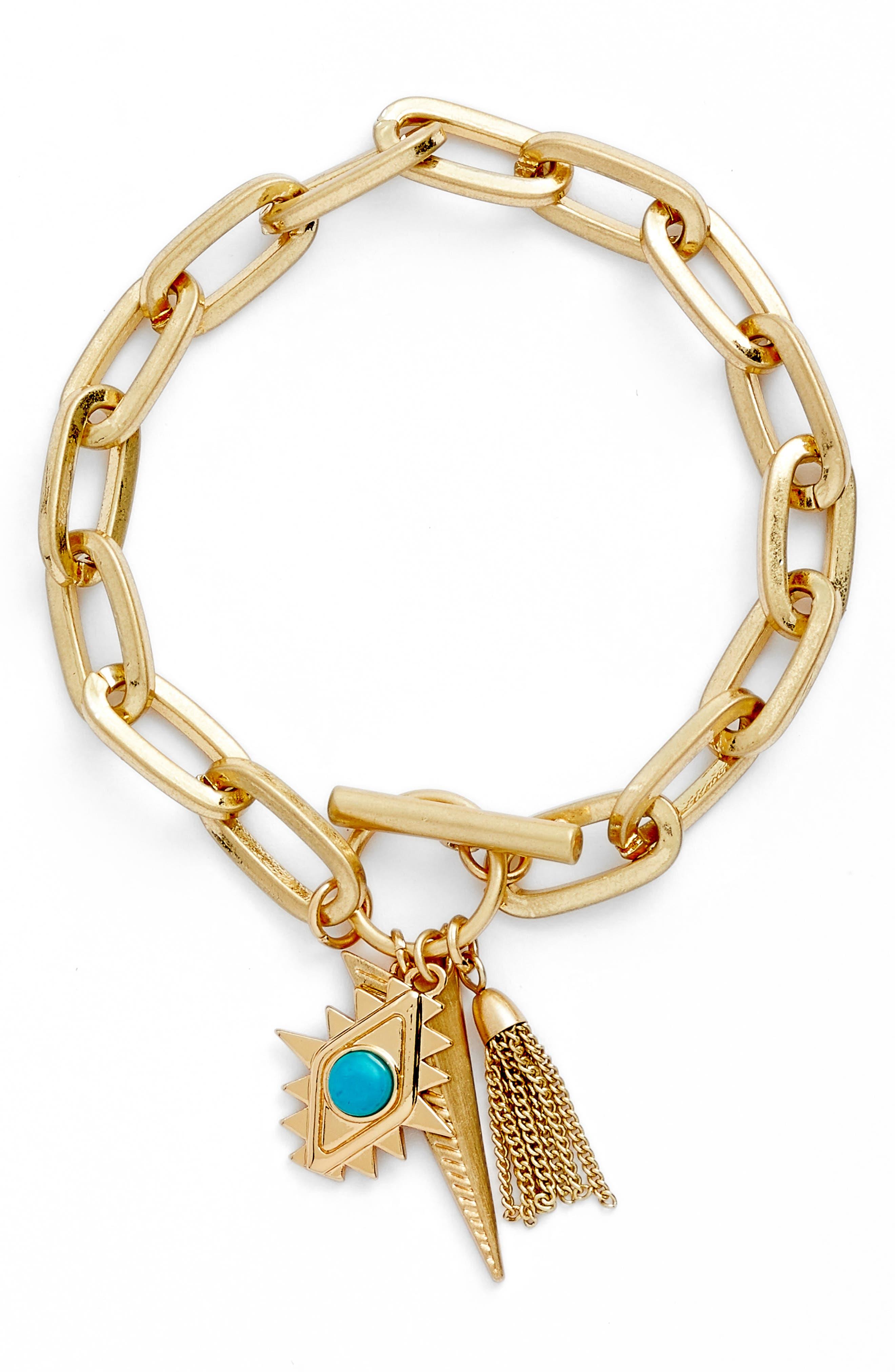 Perfect Chain Paisley Charm Bracelet,                             Main thumbnail 1, color,                             Gold