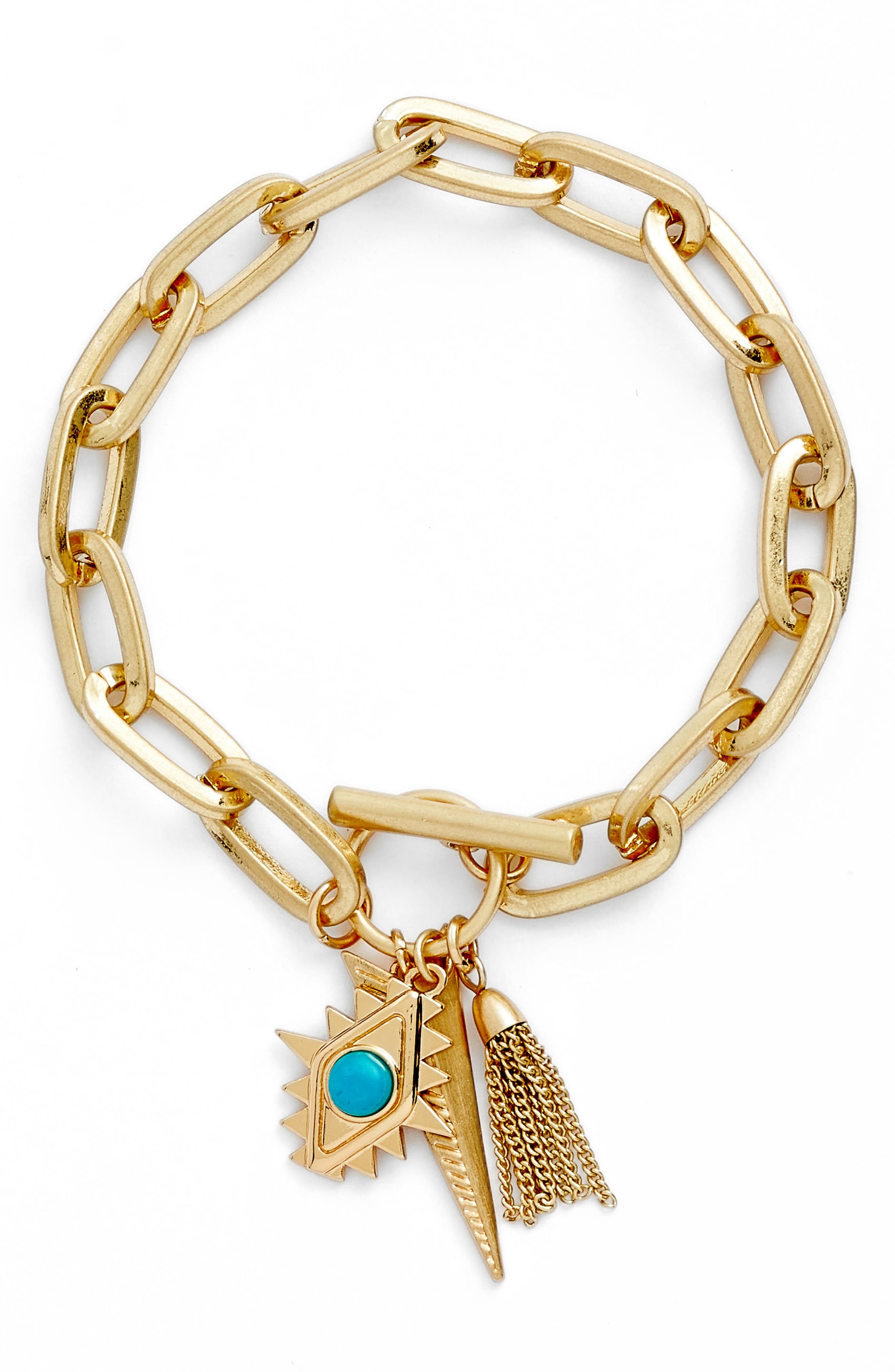 Perfect Chain Paisley Charm Bracelet,                         Main,                         color, Gold
