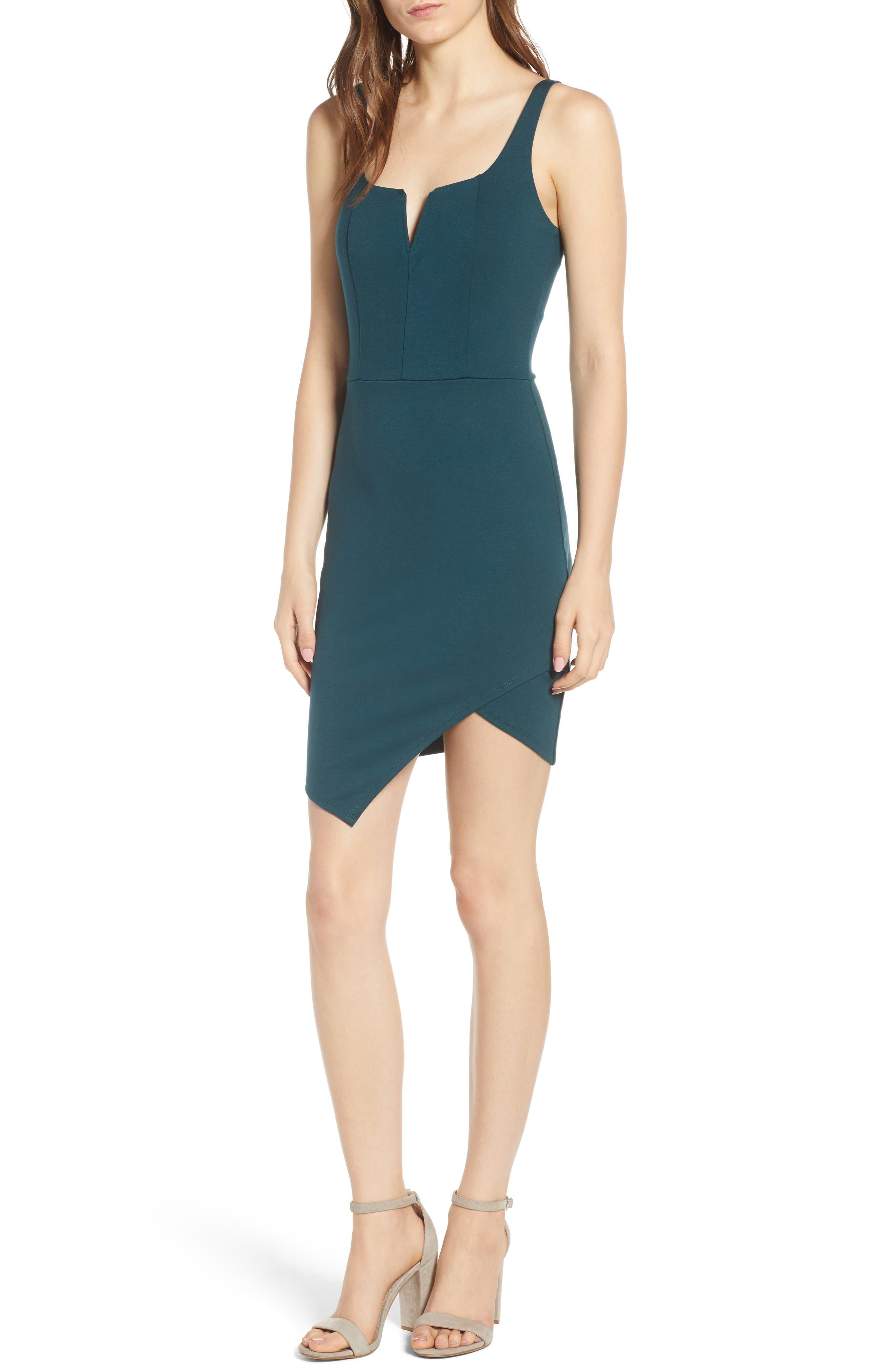 Body-Con Dress,                             Main thumbnail 1, color,                             Green Bug