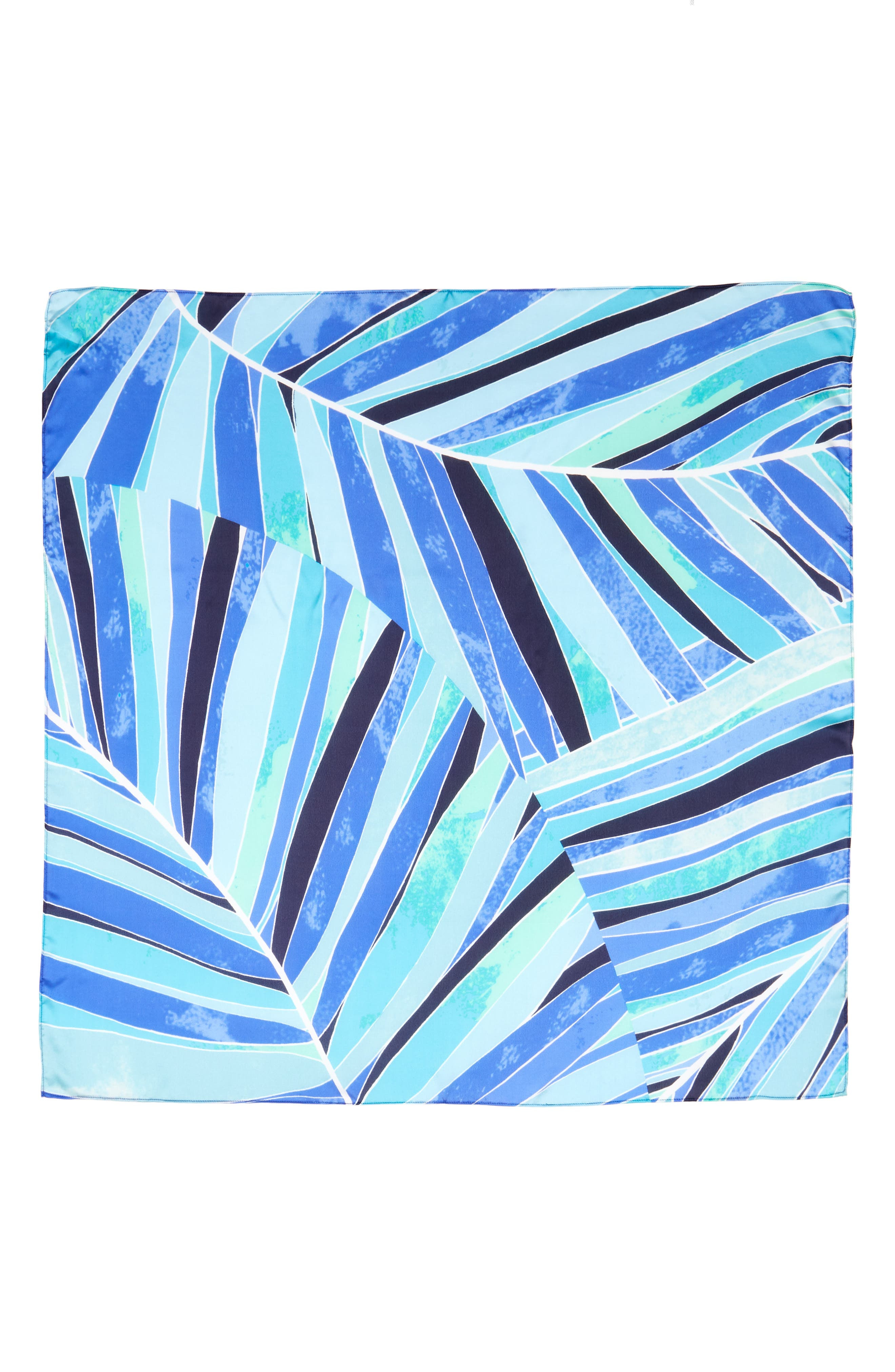 Print Silk Scarf,                             Alternate thumbnail 2, color,                             Blue Stained Palm