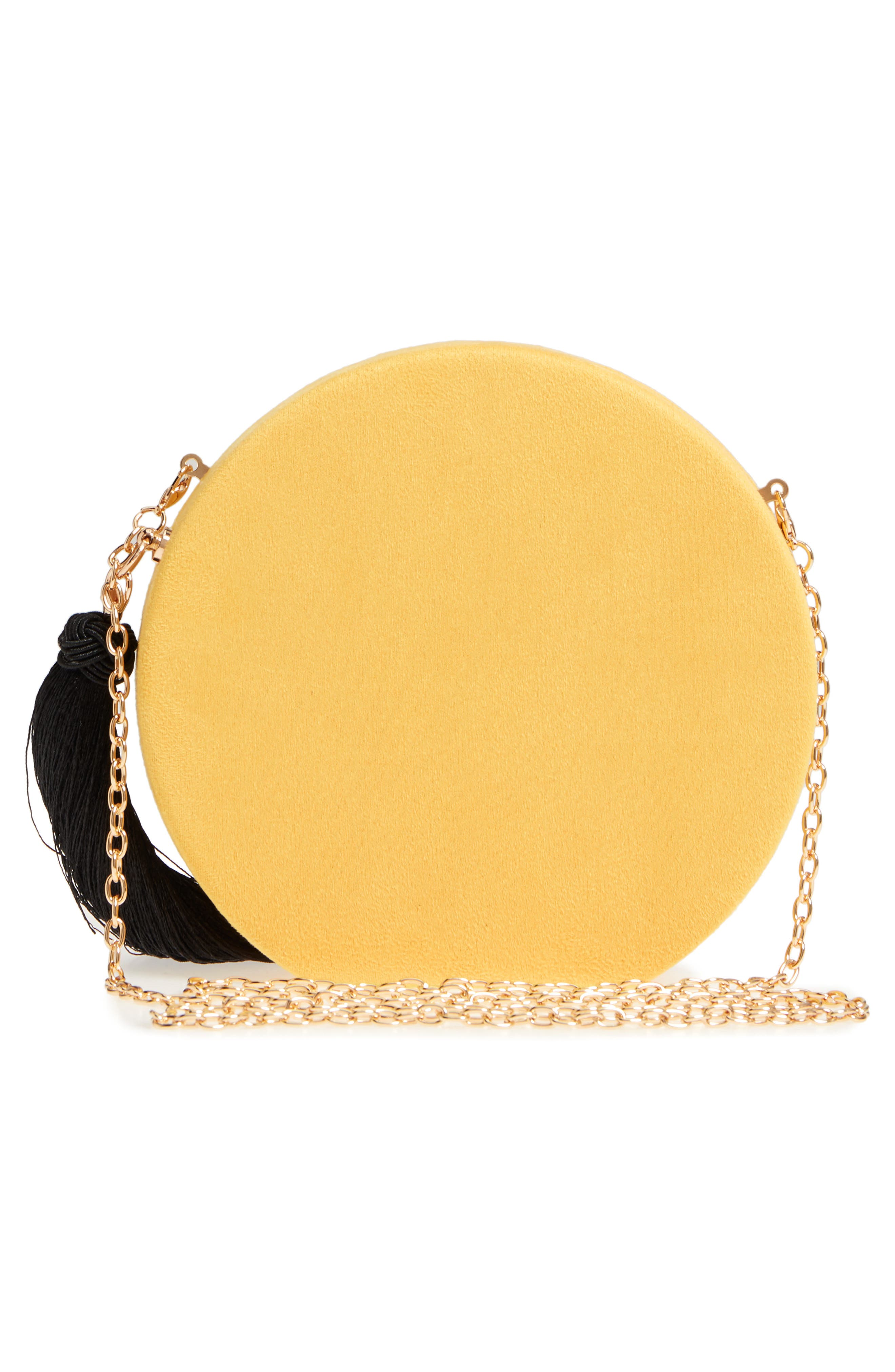 Couture Round Tassel Clutch,                             Alternate thumbnail 3, color,                             Yellow