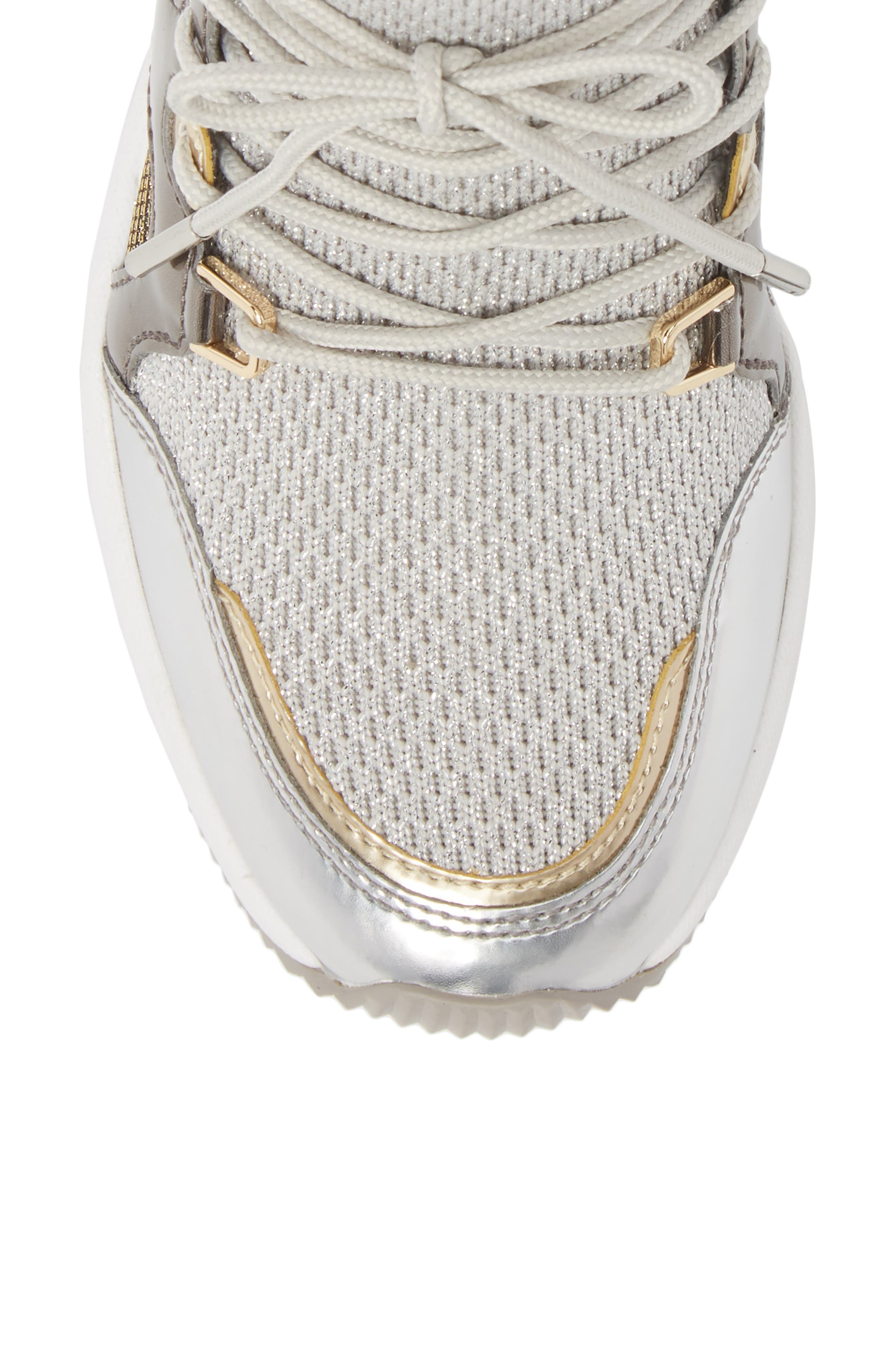 Hilda Wedge Sneaker,                             Alternate thumbnail 5, color,                             Silver Knit Fabric