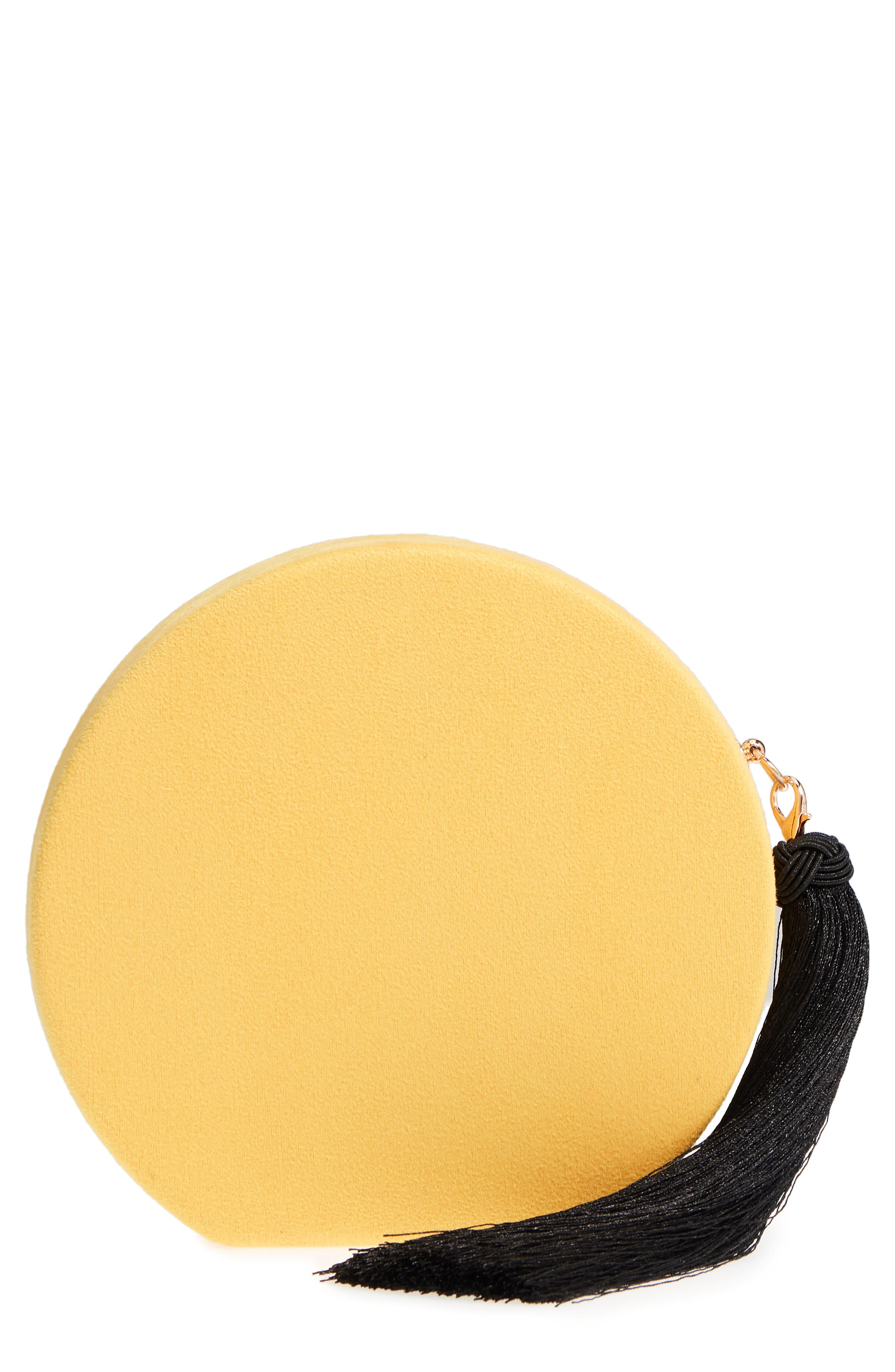 Couture Round Tassel Clutch,                             Main thumbnail 1, color,                             Yellow
