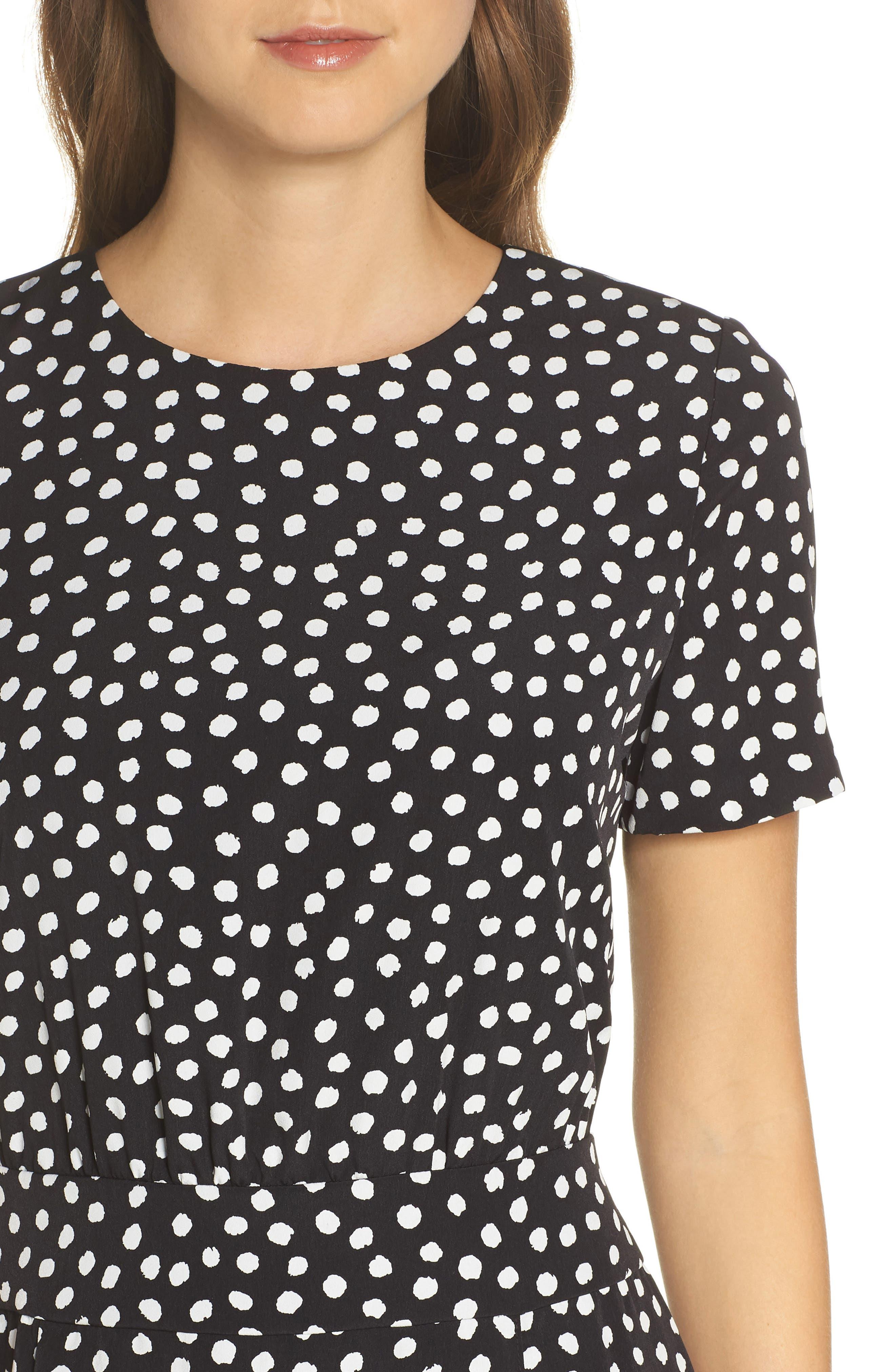 Print Midi Dress,                             Alternate thumbnail 4, color,                             Black/ Soft White