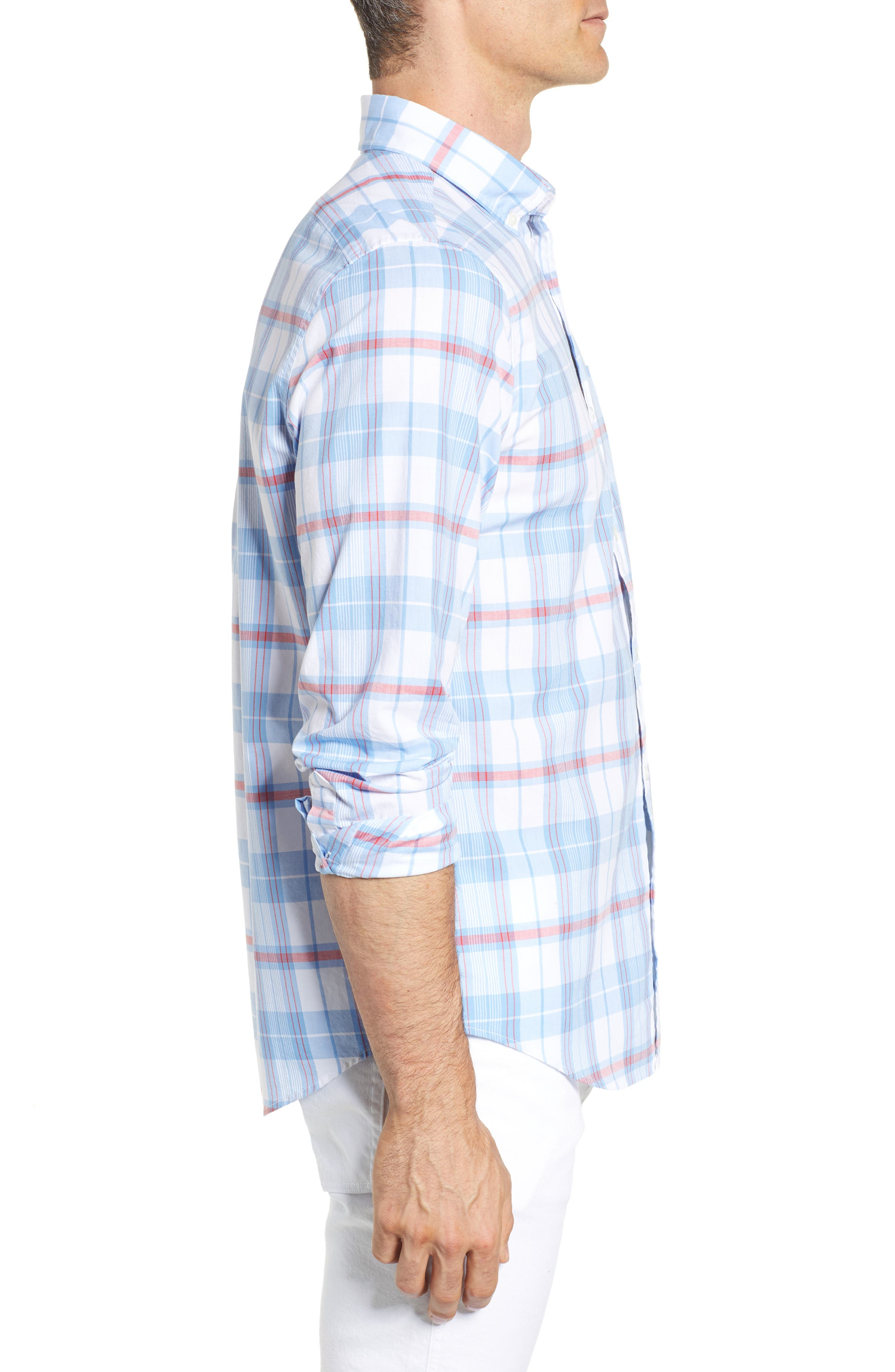 Cape Poge Tucker Slim Fit Plaid Sport Shirt,                             Alternate thumbnail 4, color,                             Dockside Blue