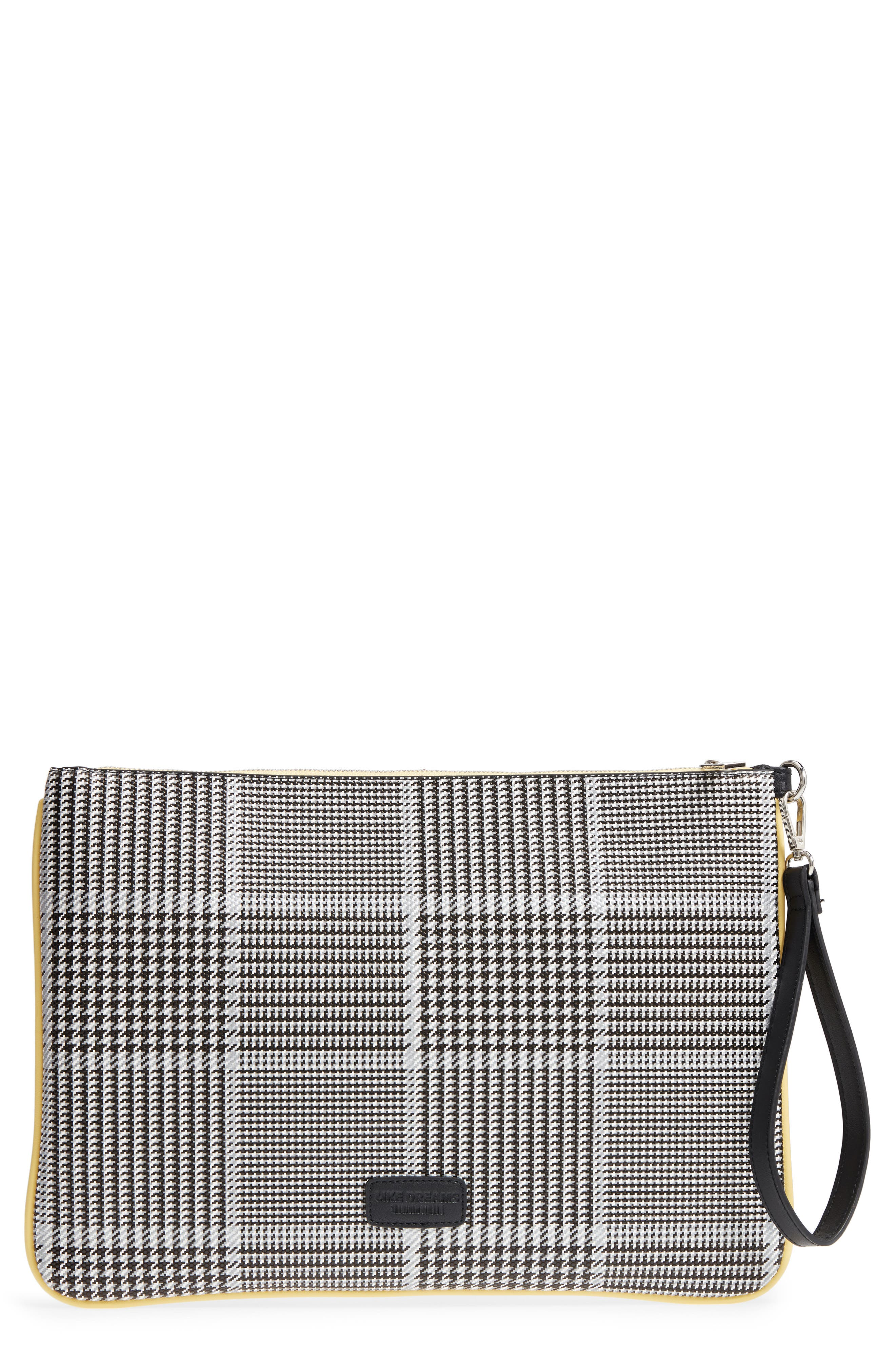 Prince of Wales Check Clutch,                             Main thumbnail 1, color,                             Black Multi
