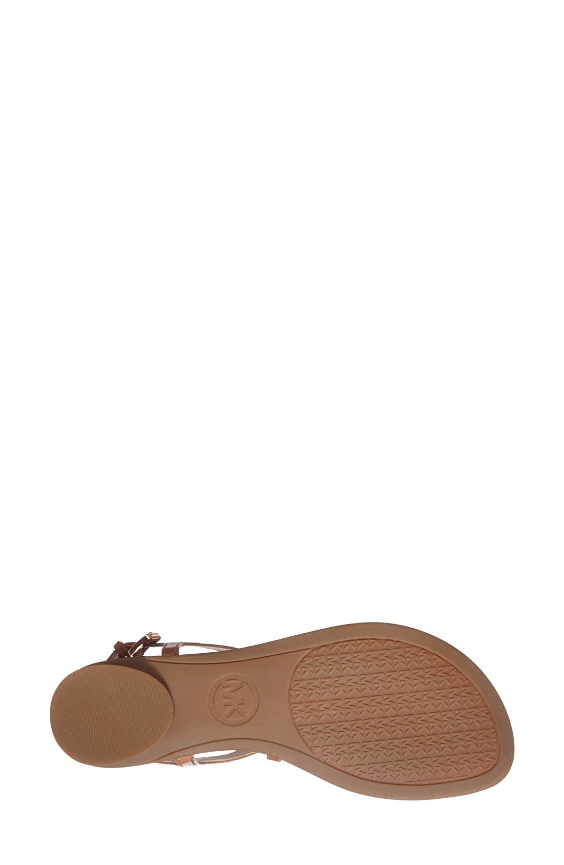'Josie' T-Strap Leather Sandal,                             Alternate thumbnail 5, color,                             Luggage