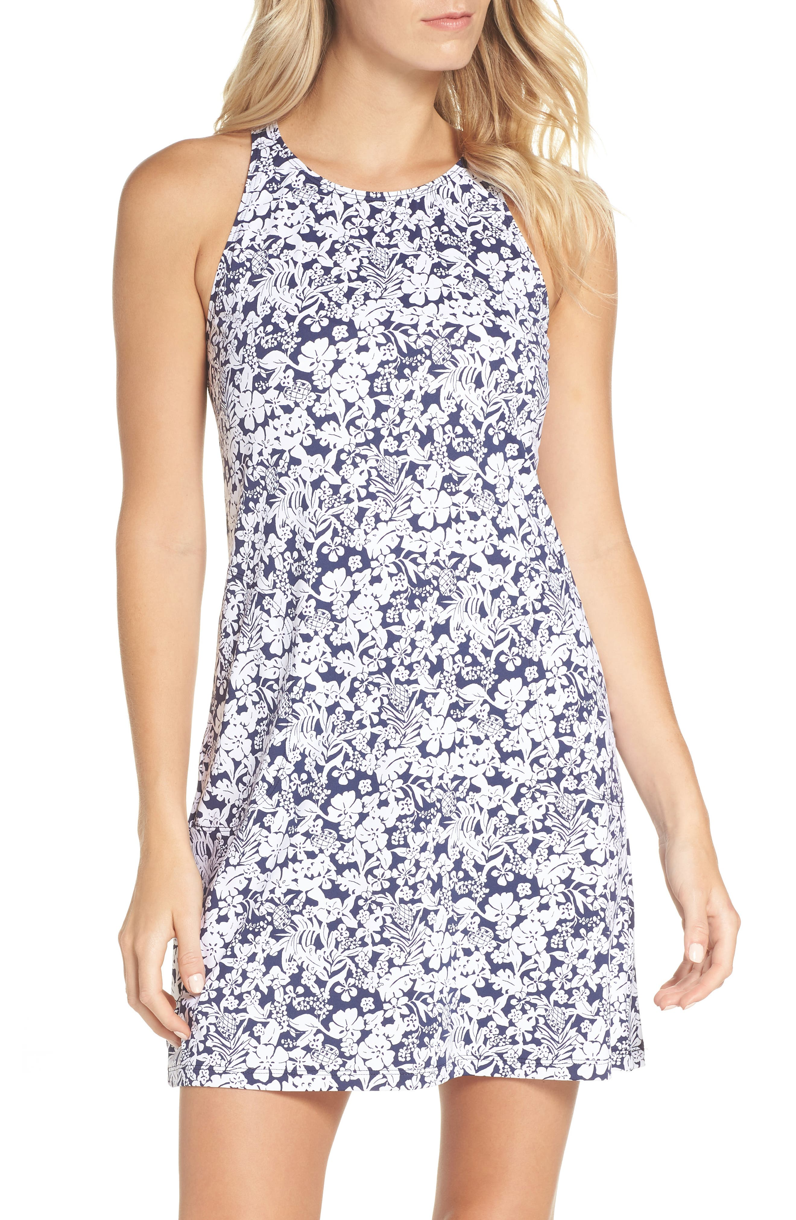 Riviera Tiles Cover-Up Dress,                             Main thumbnail 1, color,                             Mare Blue