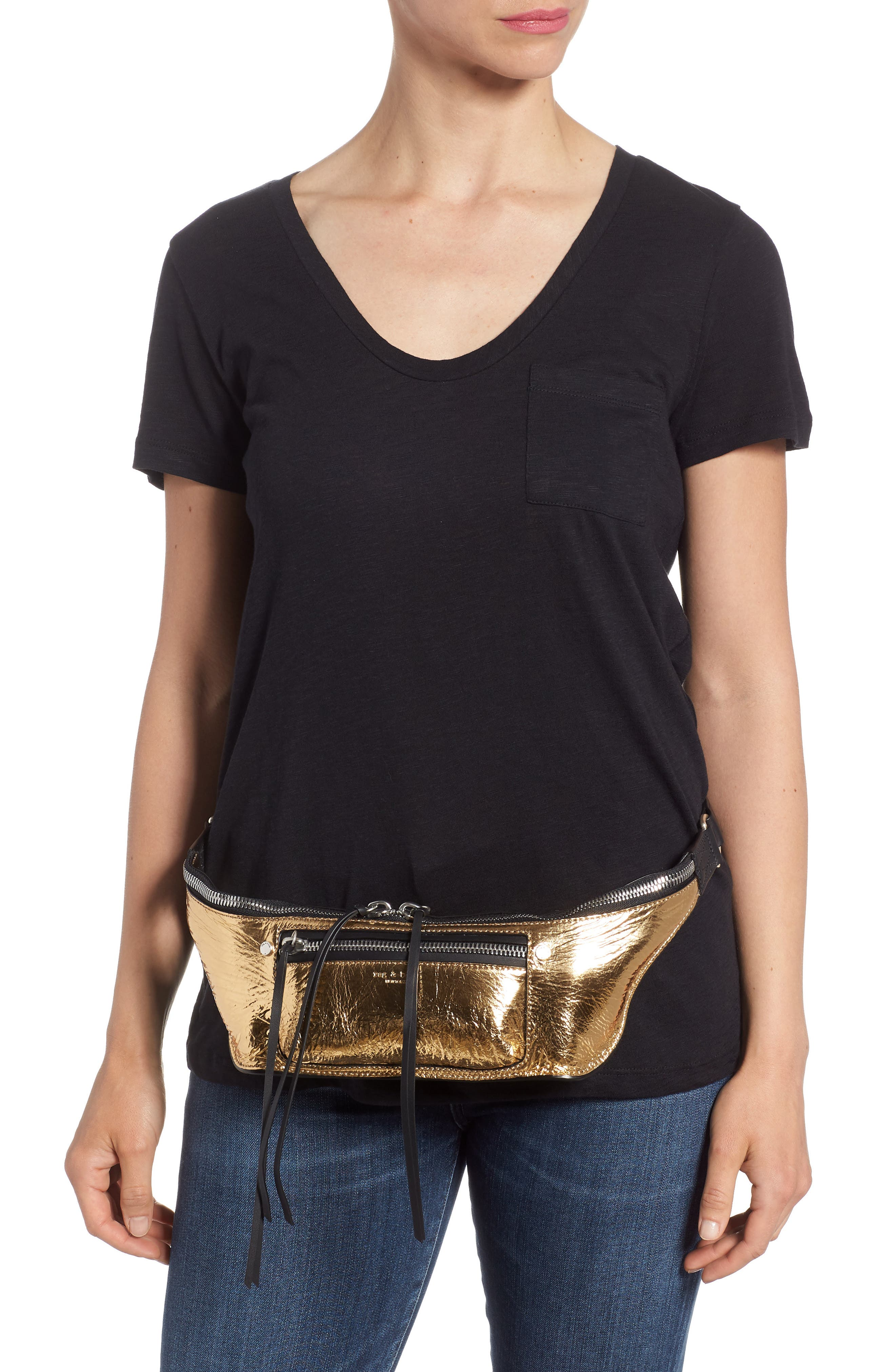 Small Elliot Leather Fanny Pack,                             Alternate thumbnail 3, color,                             Gold