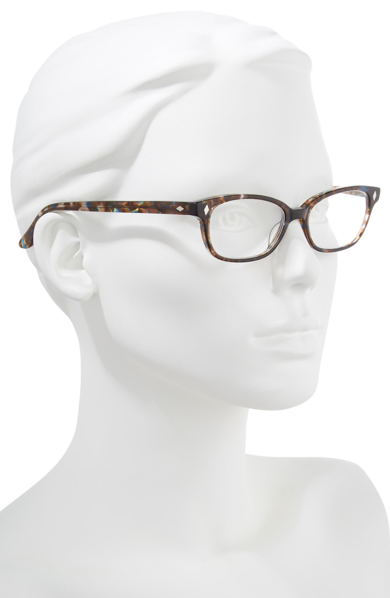'Cyd' 50mm Reading Glasses,                             Alternate thumbnail 2, color,                             Transparent Brown Marble