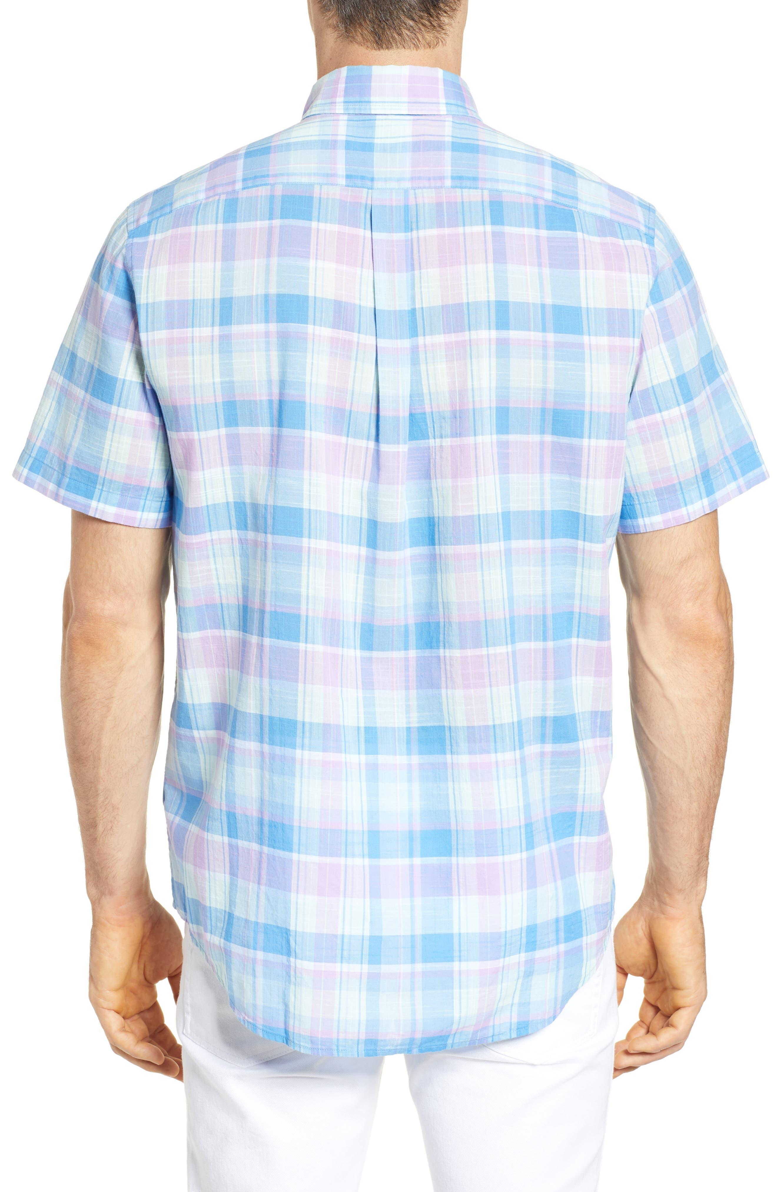 Lagoon Pond Classic Fit Plaid Sport Shirt,                             Alternate thumbnail 3, color,                             Sea Urchin